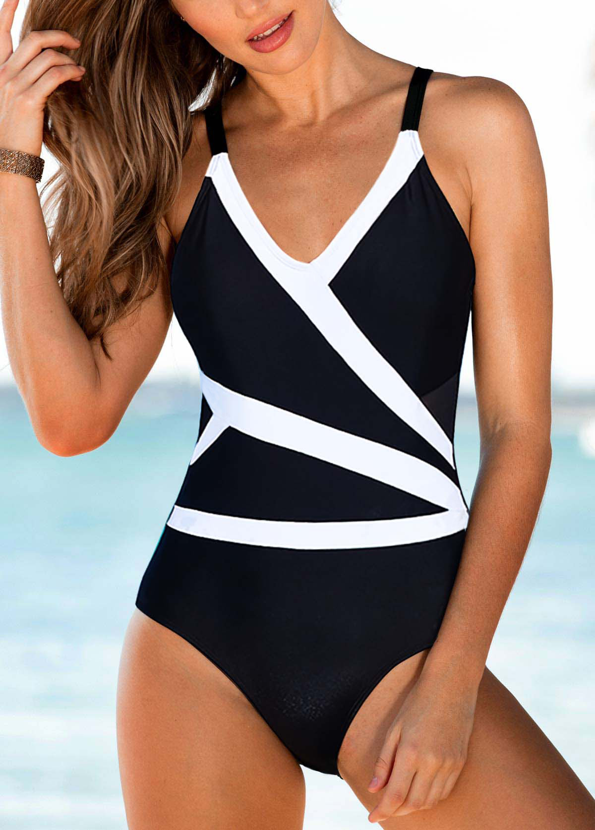 V Neck Spaghetti Strap One Piece Swimwear