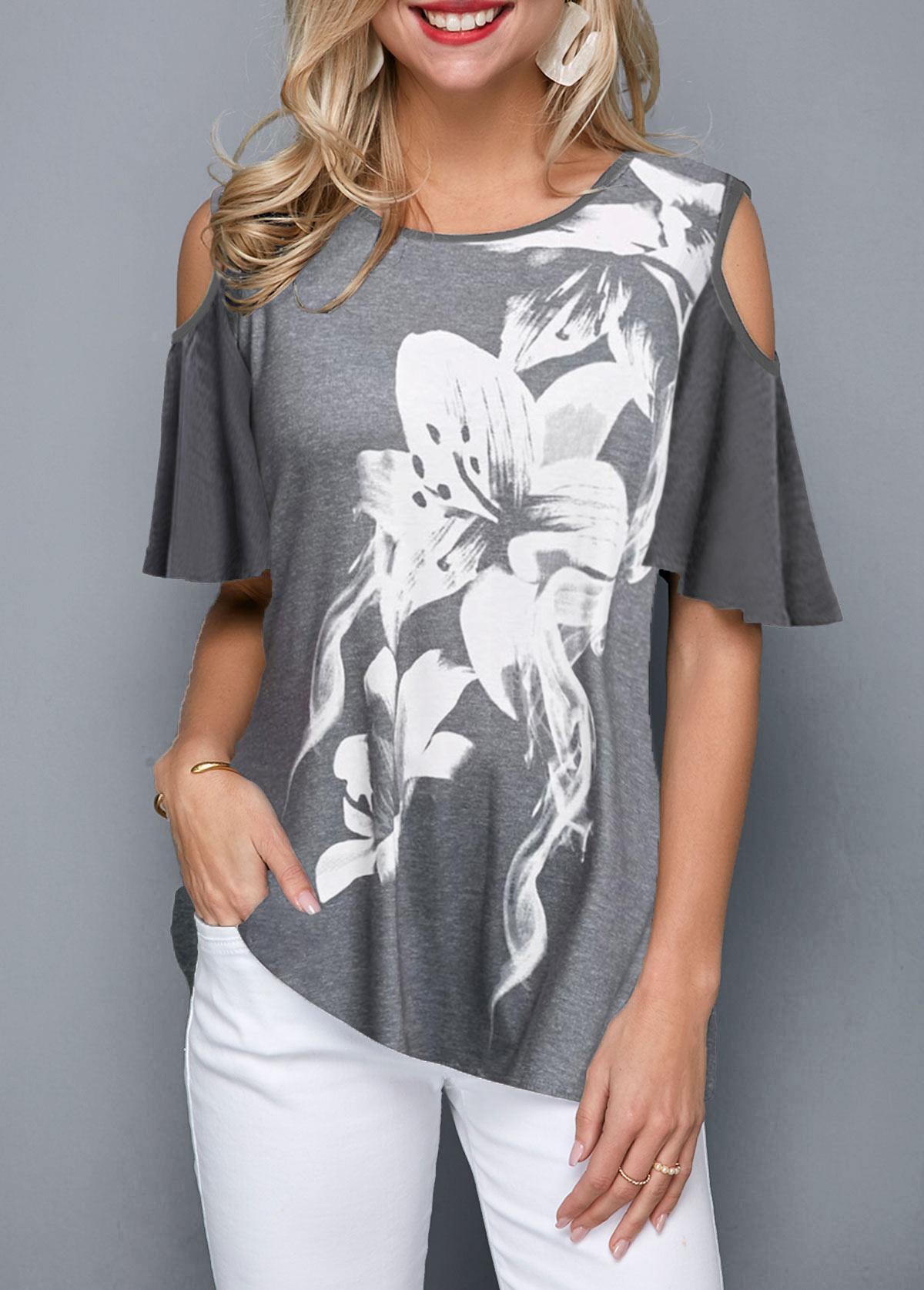 Cold Shoulder Flower Print Grey Blouse