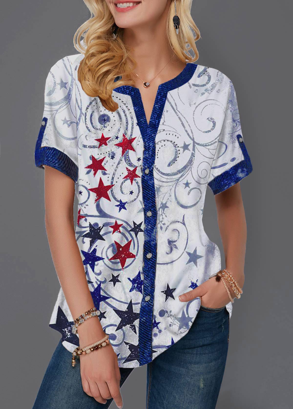 American Flag Print Button Up Star Print Blouse