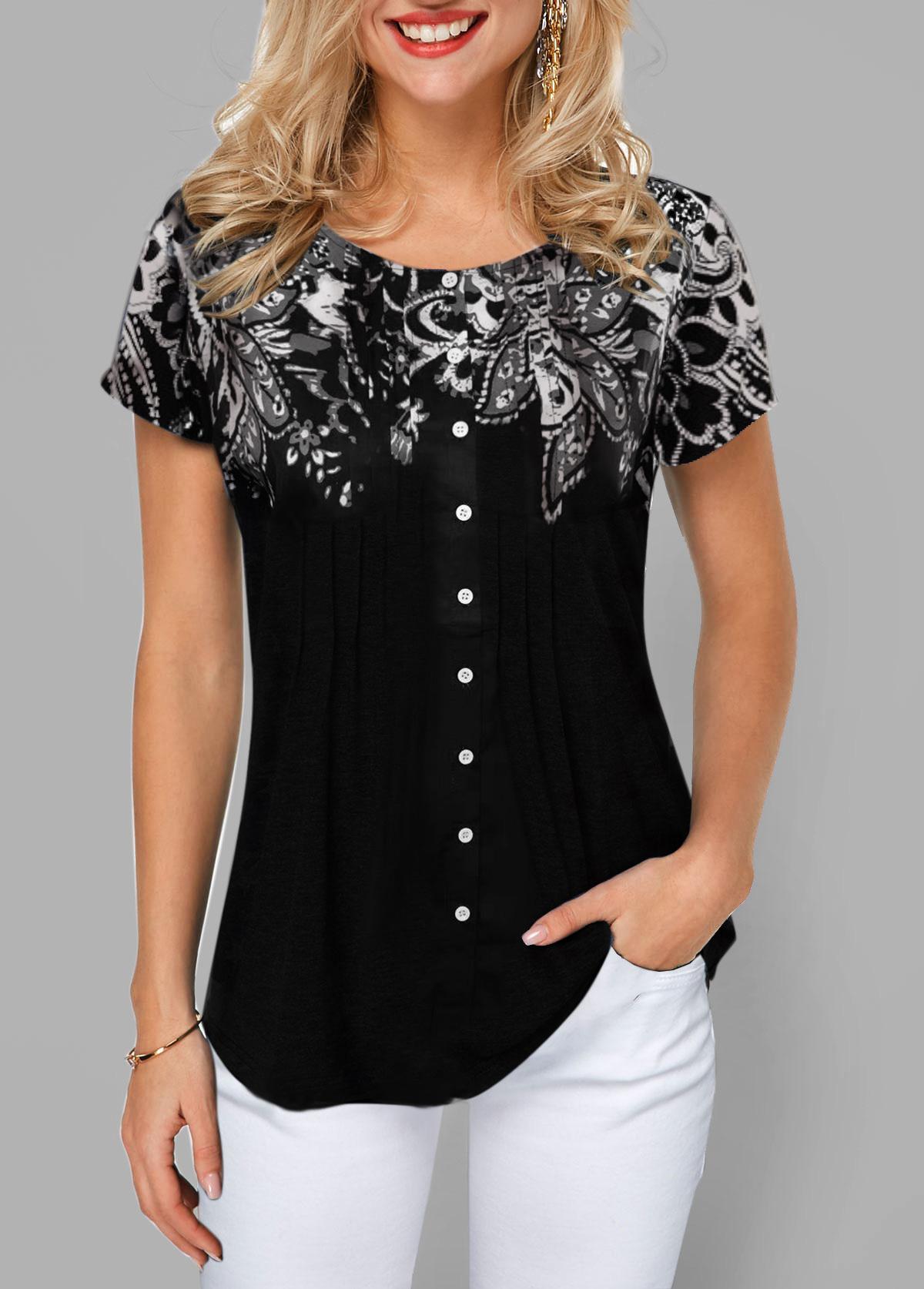 Button Front Short Sleeve Flower Print T Shirt