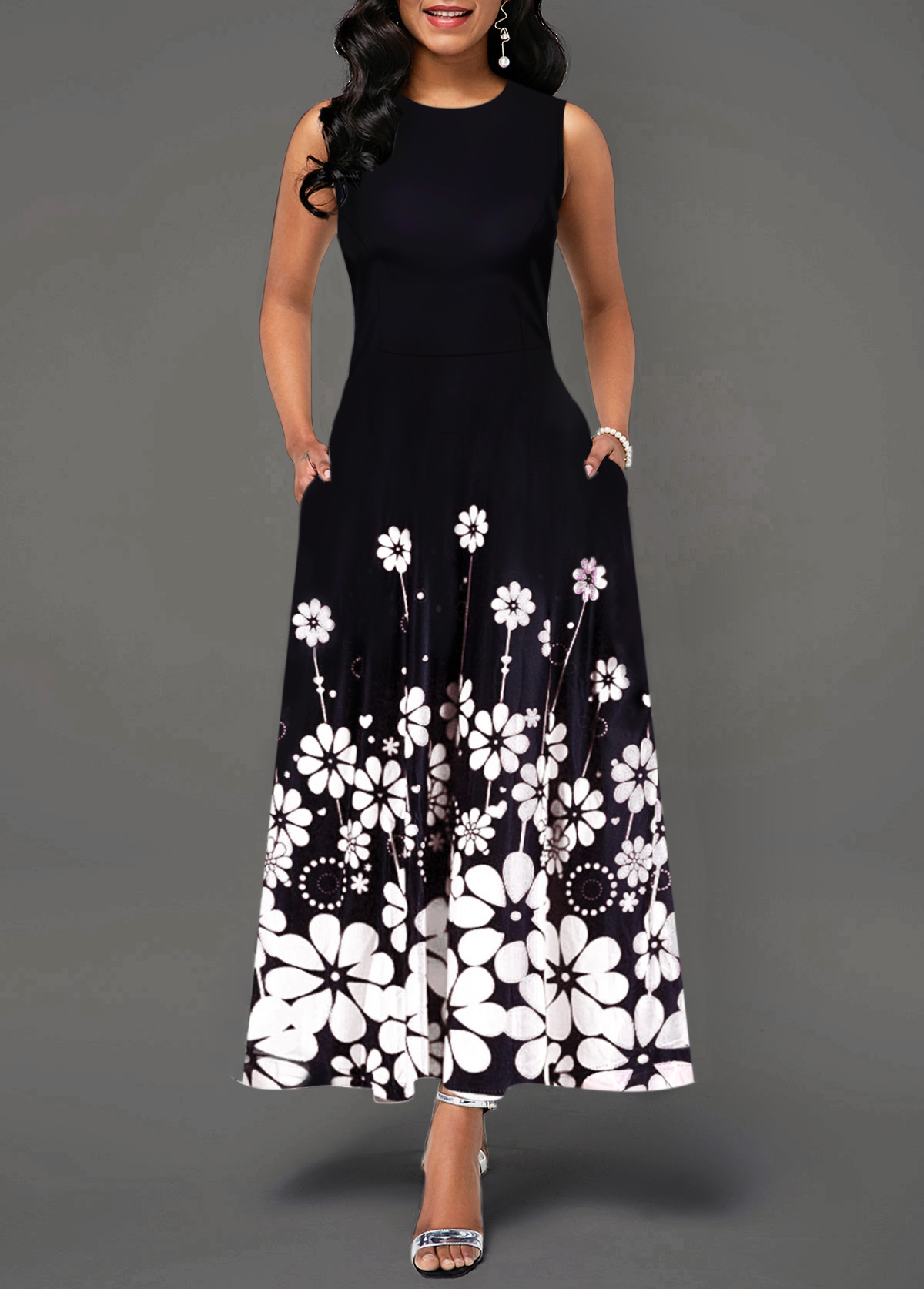 Flower Print Sleeveless Round Neck Maxi Dress