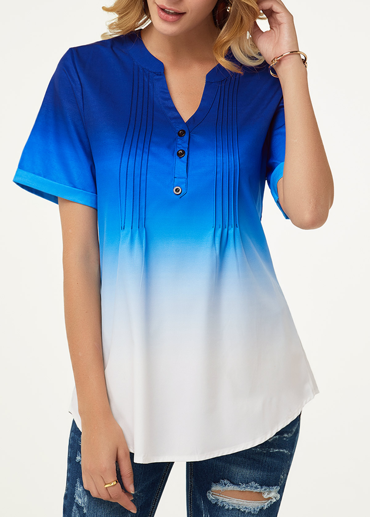 Split Neck Button Detail Crinkle Chest Blouse