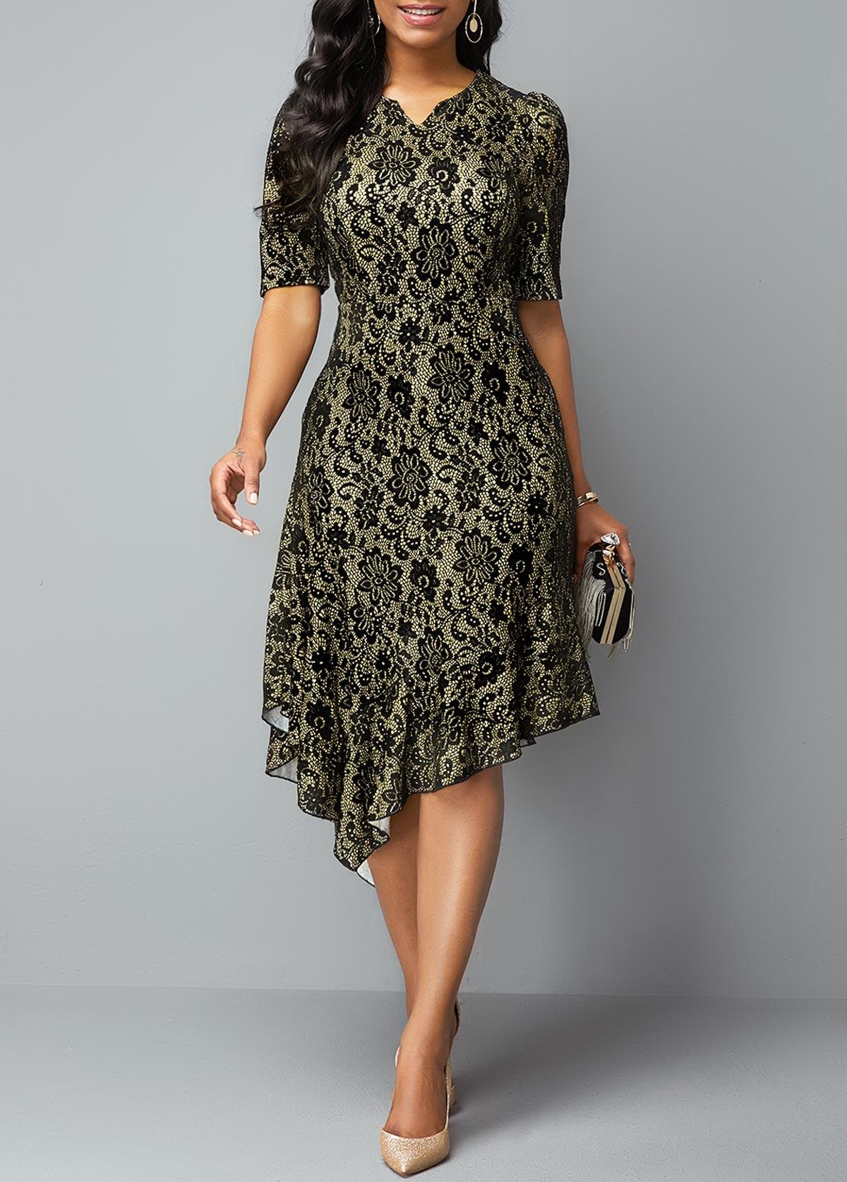 Split Neck Half Sleeve Asymmetric Hem Lace Dress