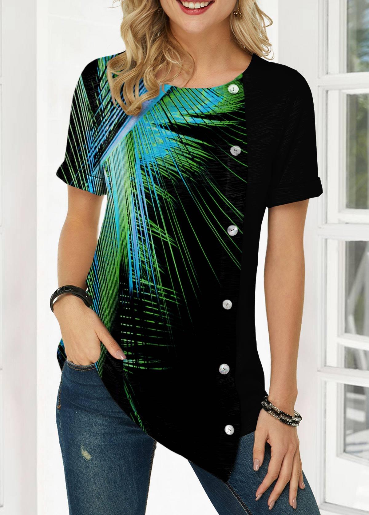 Palm Leaf Print Button Detail Asymmetric Hem T Shirt