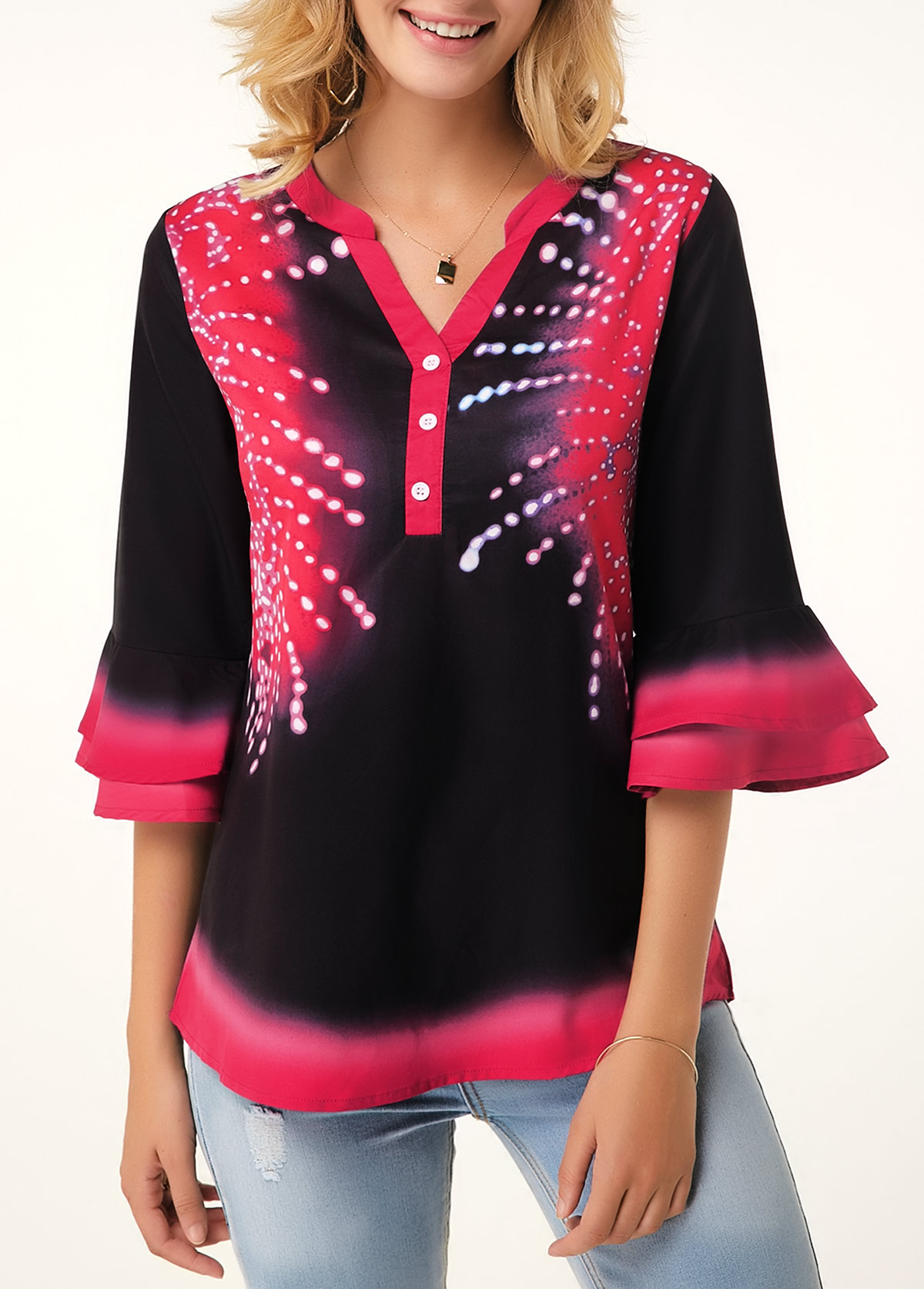 Split Neck Button Detail Flare Cuff Printed Blouse