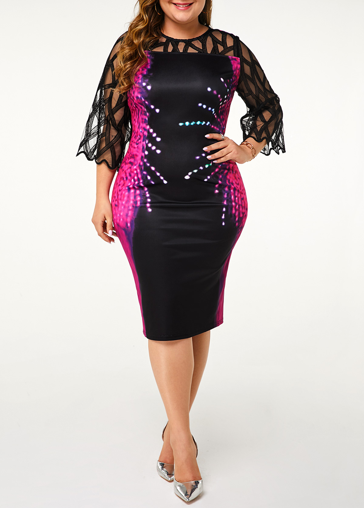 Plus Size Three Quarter Sleeve Printed Black Dress