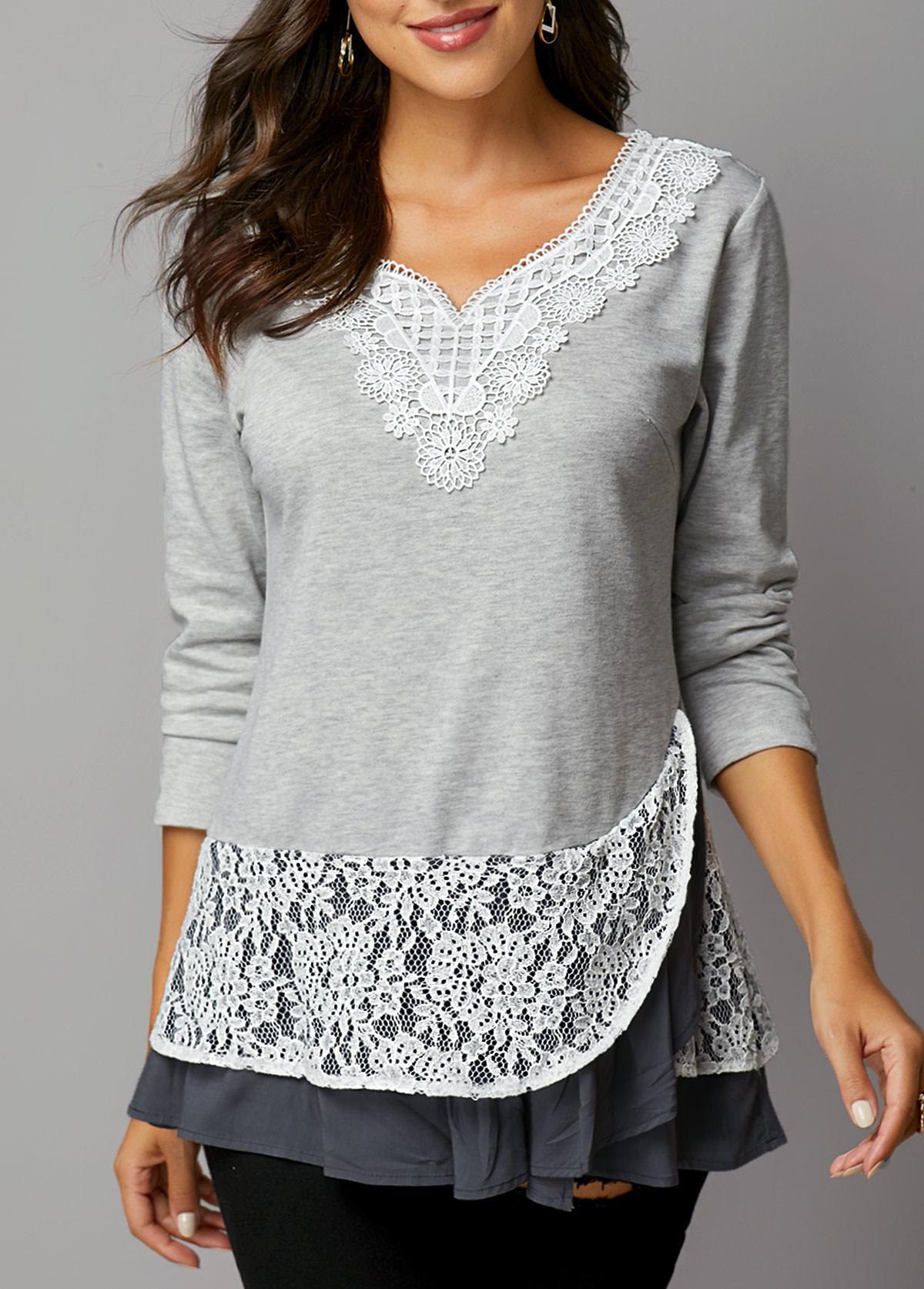 Lace Panel Layered Hem Light Grey T Shirt