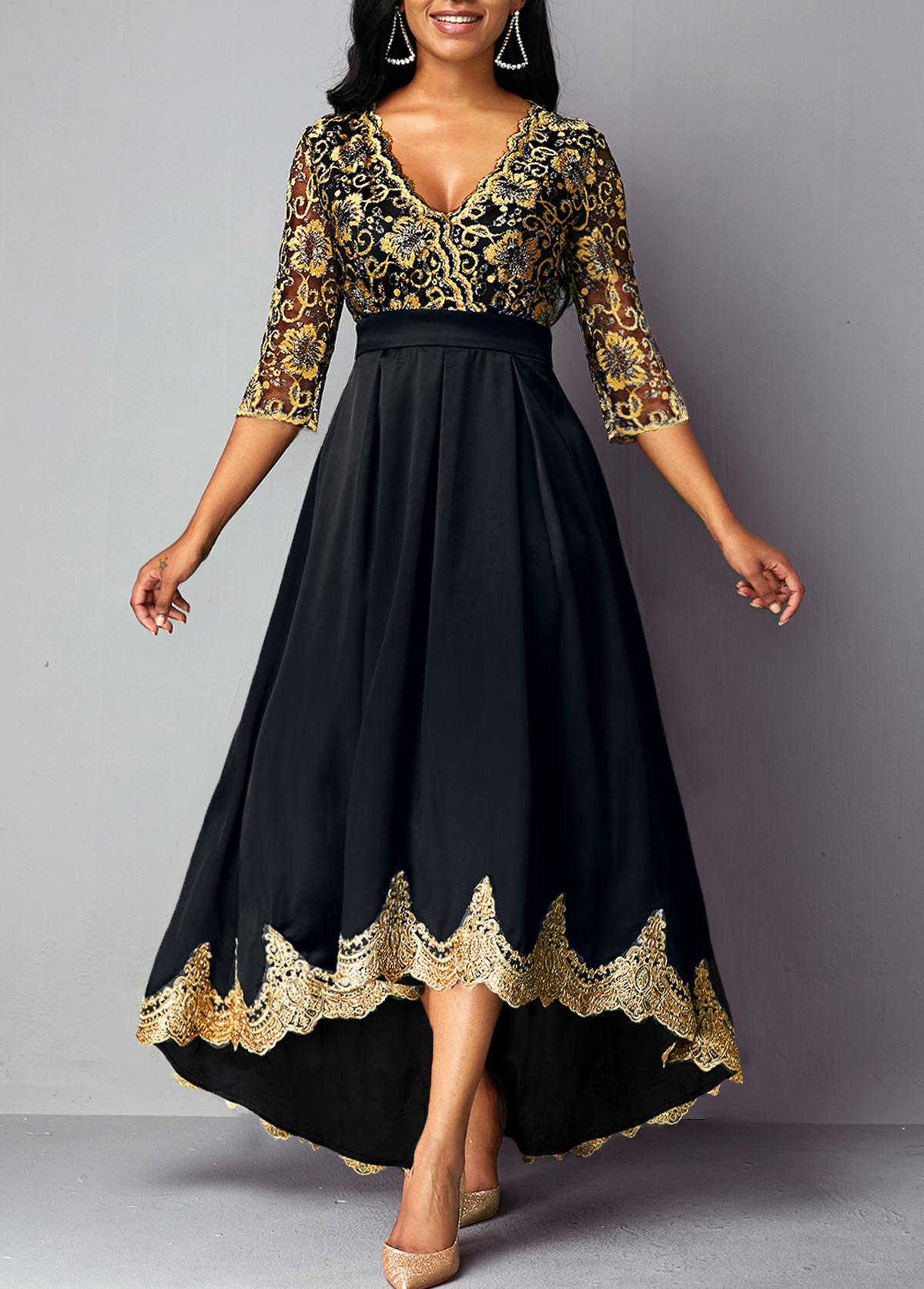 Lace Panel V Neck High Waist Dress