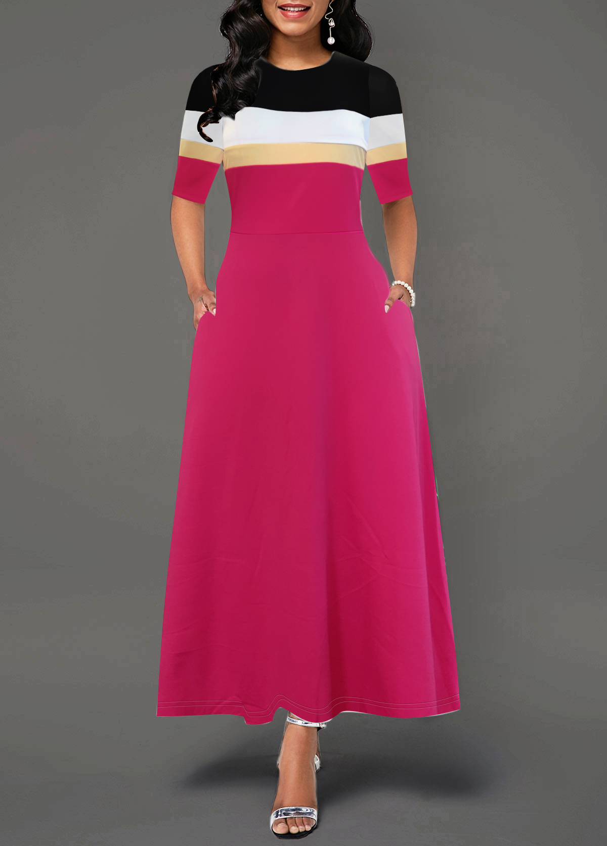 Color Block Round Neck Pocket Dress