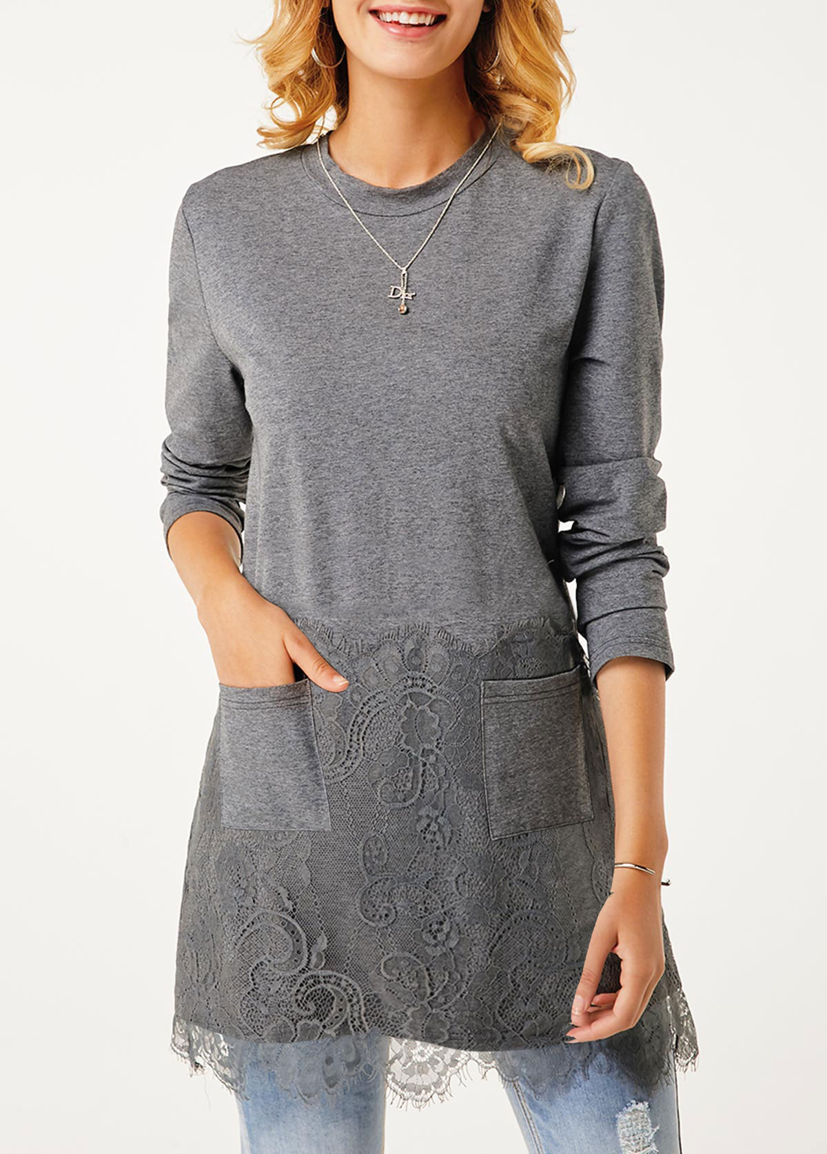 Lace Panel Long Sleeve Pocket Tunic Top