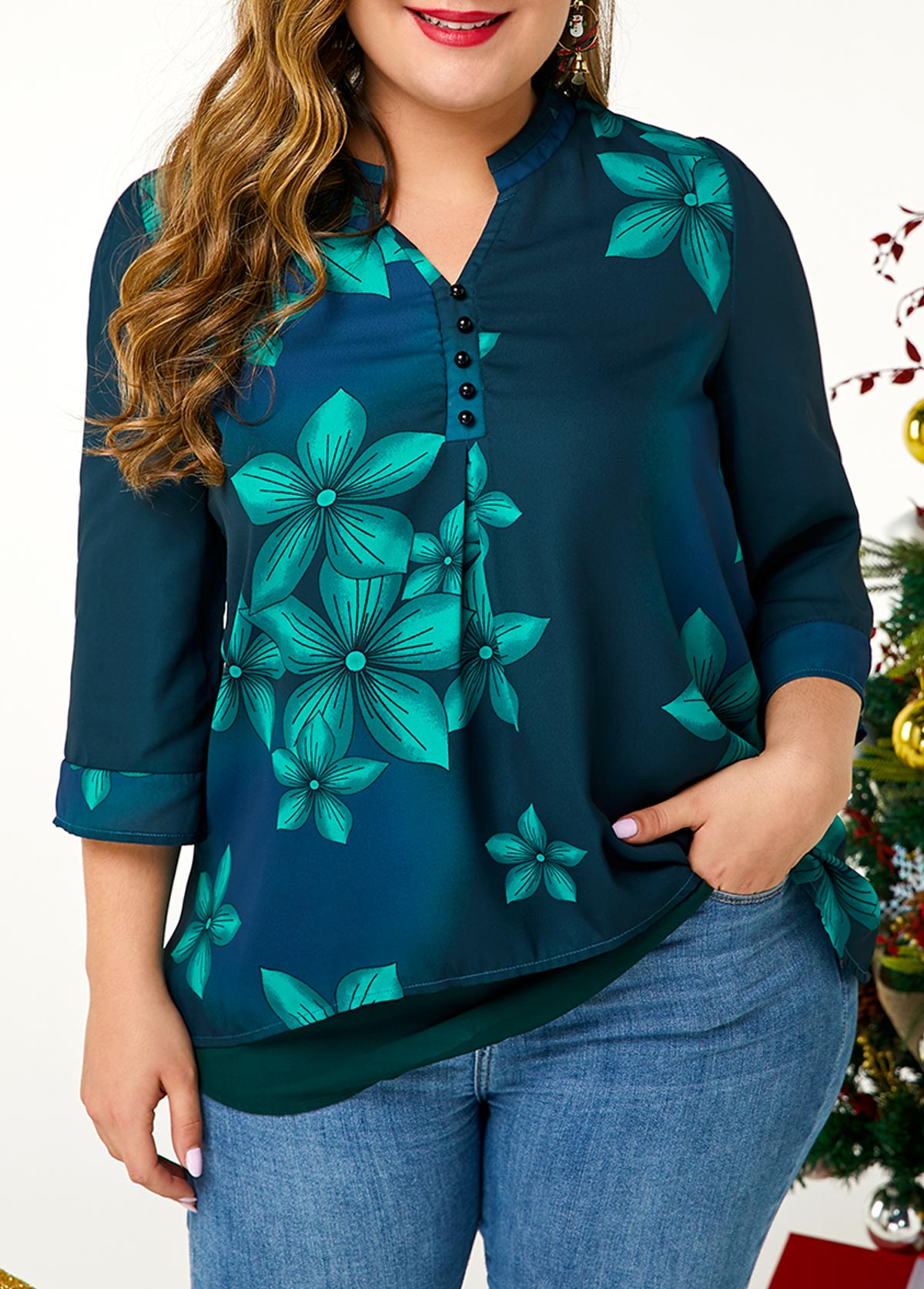 Plus Size Large Floral Print Button Detail Blouse