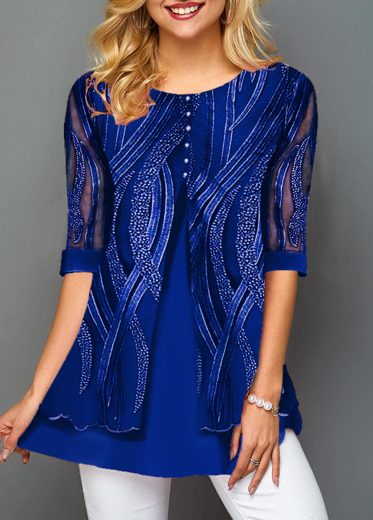 Lace Panel Button Detail Layered Hem T Shirt