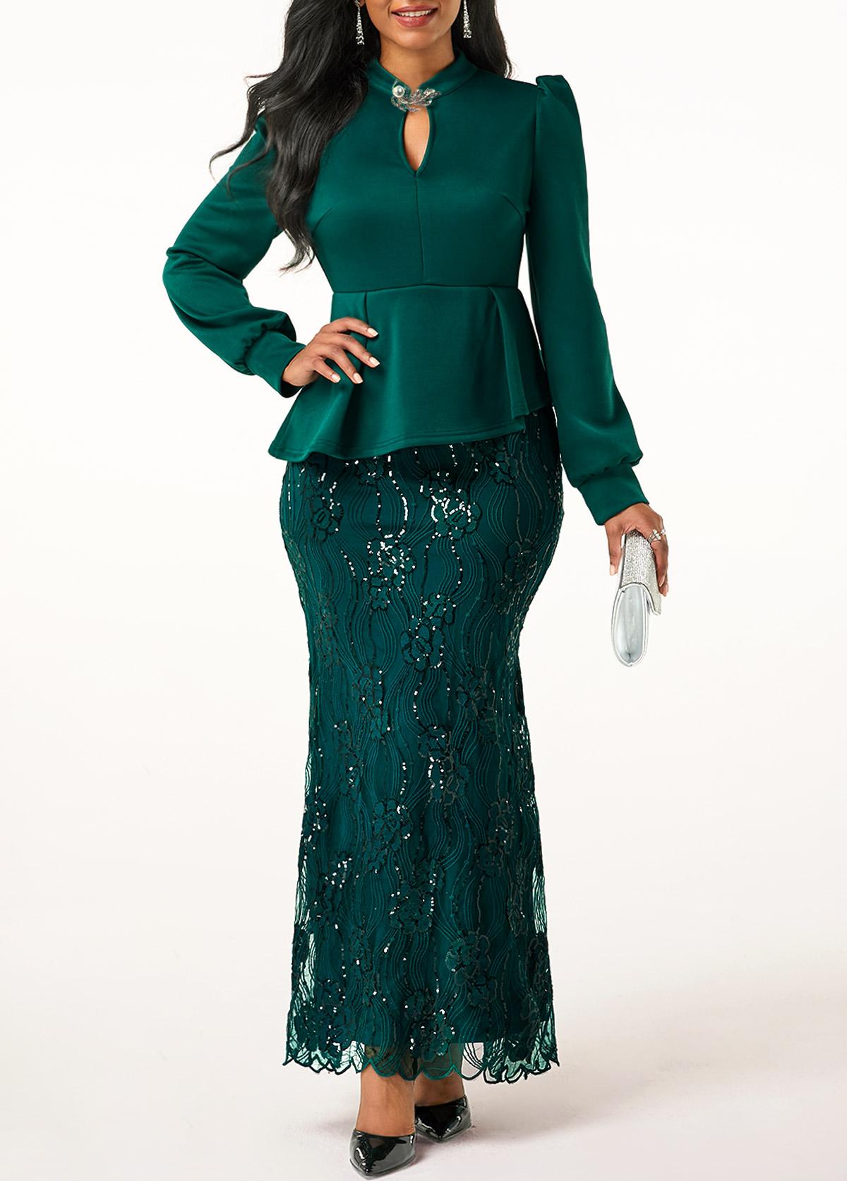 Peplum Waist Long Sleeve Rhinestone Embellished Dress
