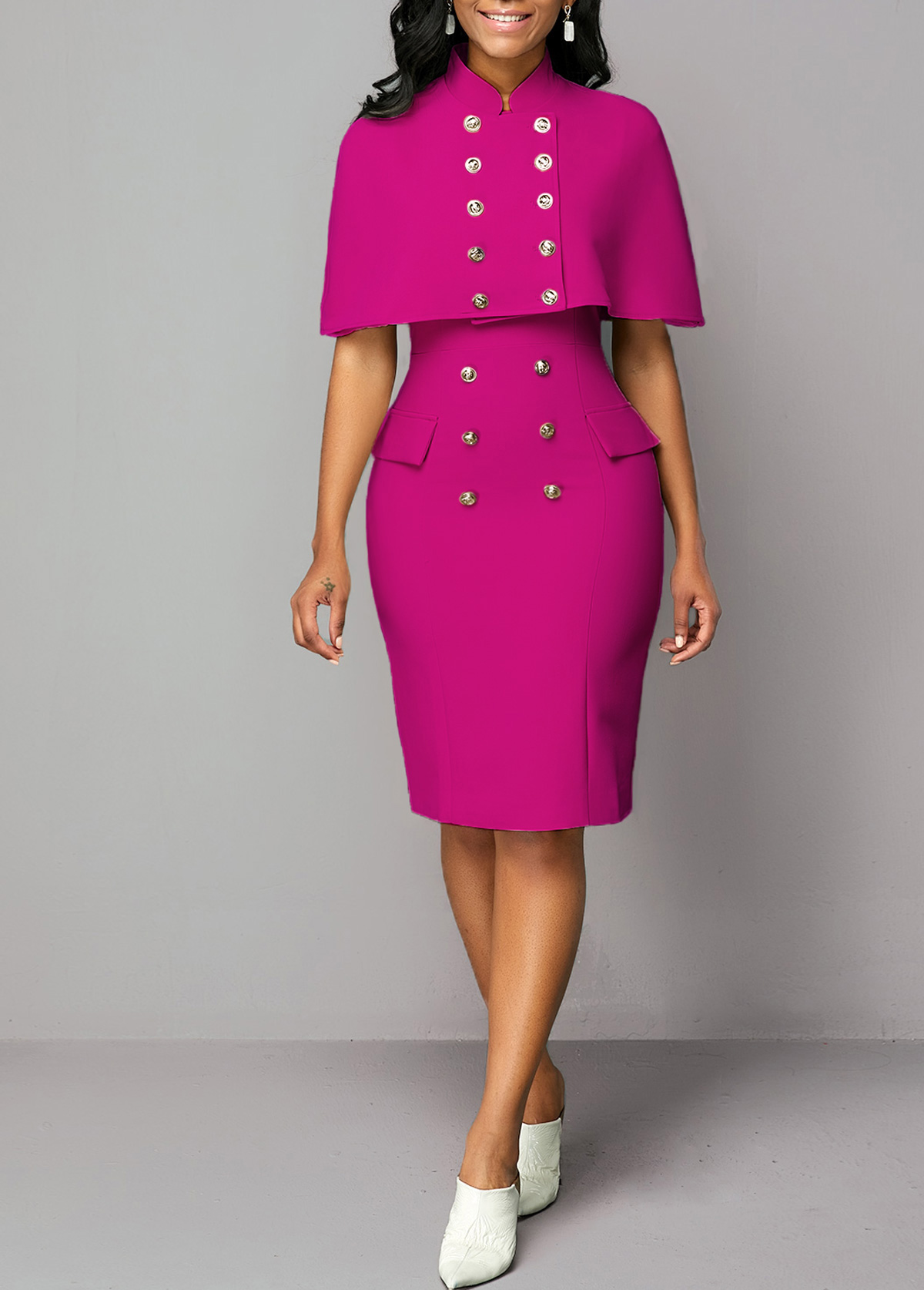 Stand Collar Top and Button Detail Sheath Dress