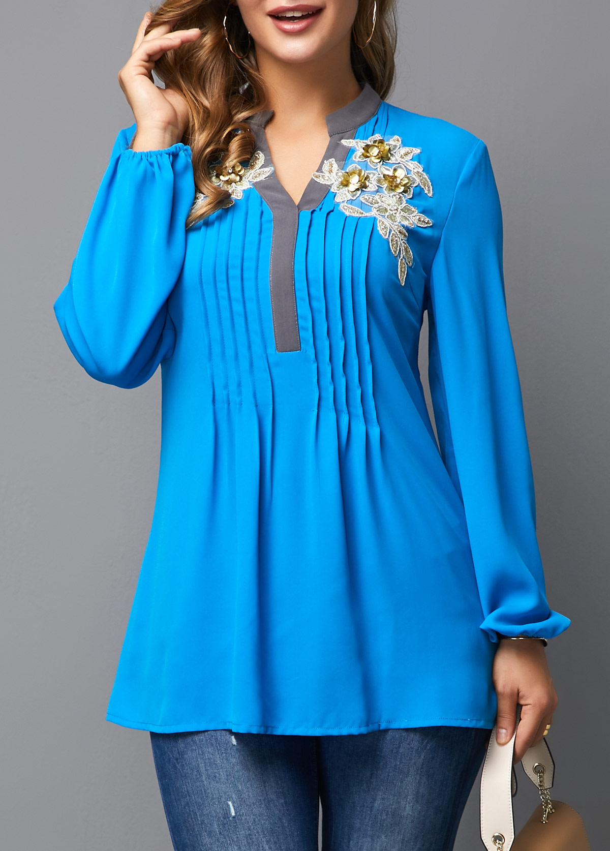 Crinkle Chest Split Neck Royal Blue Blouse