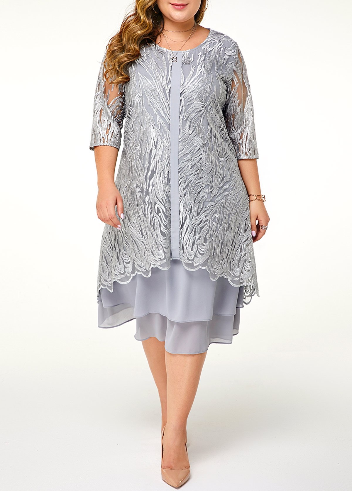 Plus Size Lace Patchwork Three Quarter Sleeve Dress
