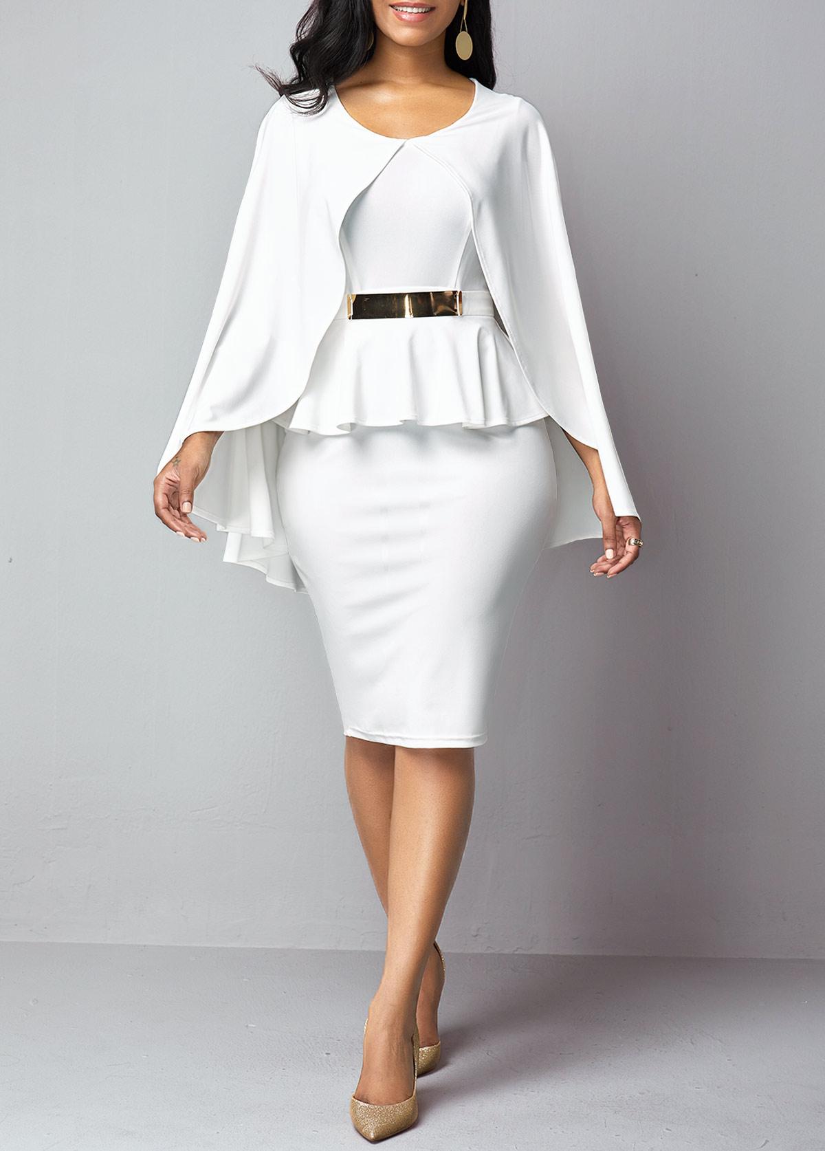 Peplum Waist Overlay Round Neck Dress