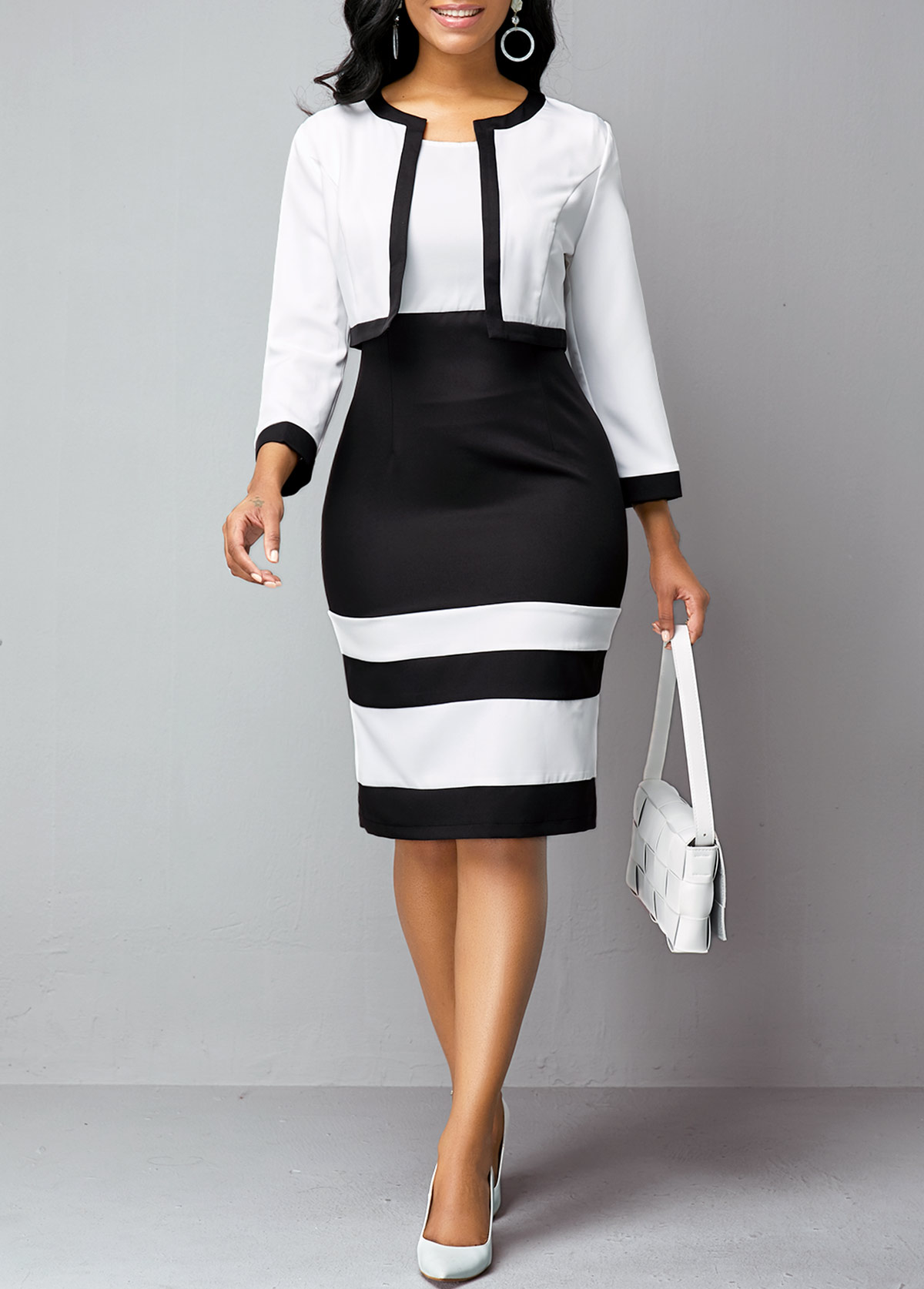 Contrast Piping Cardigan and Color Block Dress