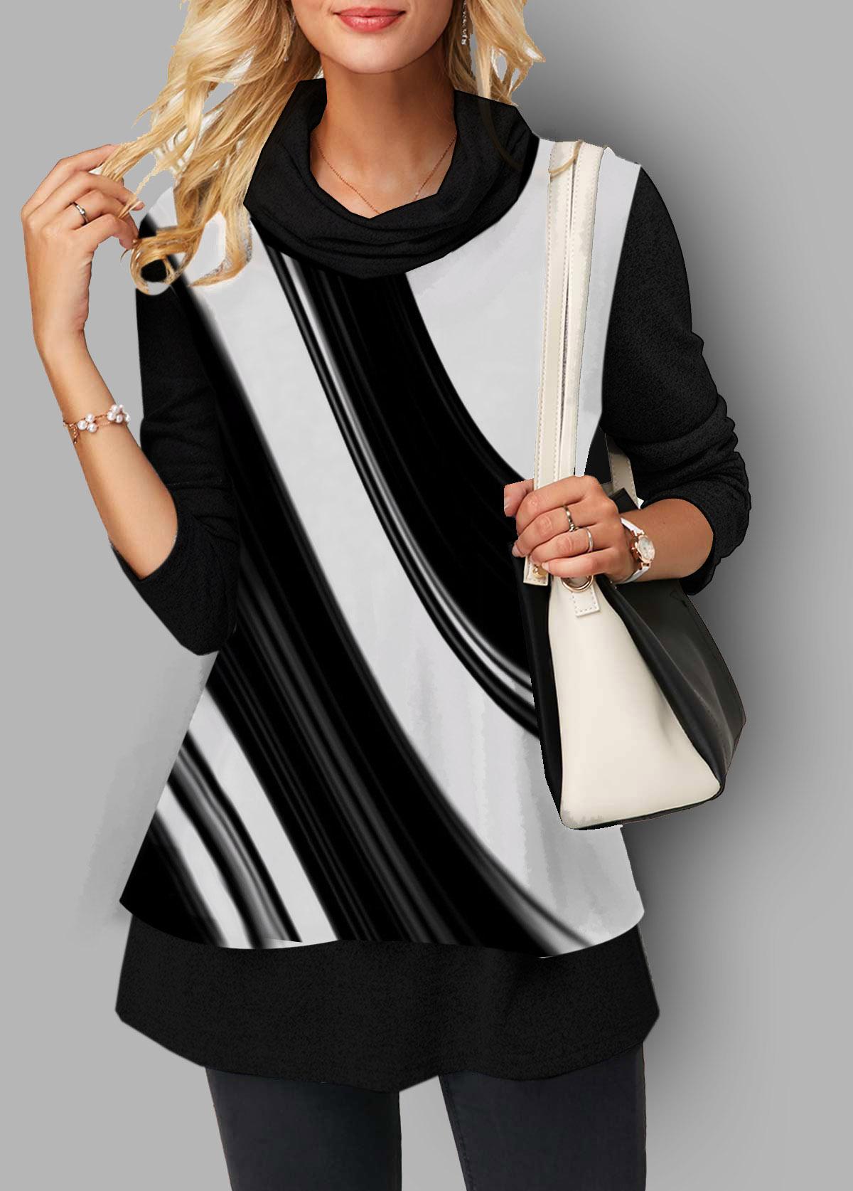 Three Quarter Sleeve Printed Black T Shirt