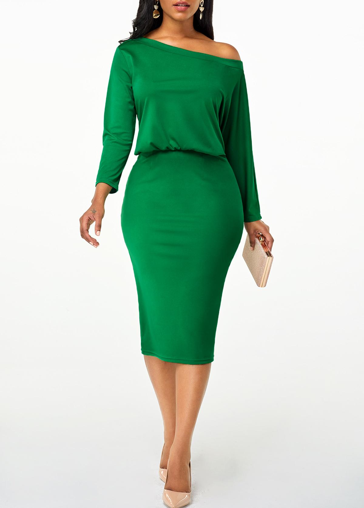 Skew Neck High Waist Green Dress