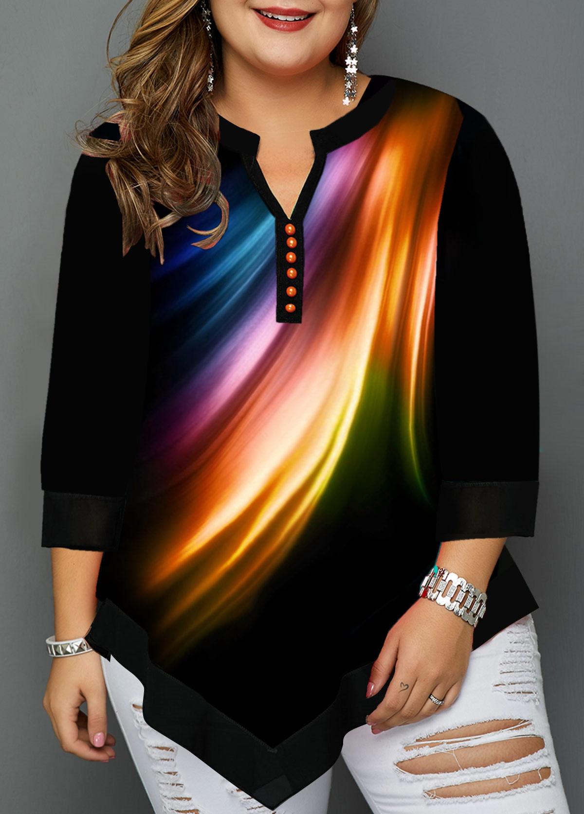 Plus Size Split Neck Asymmetric Hem T Shirt