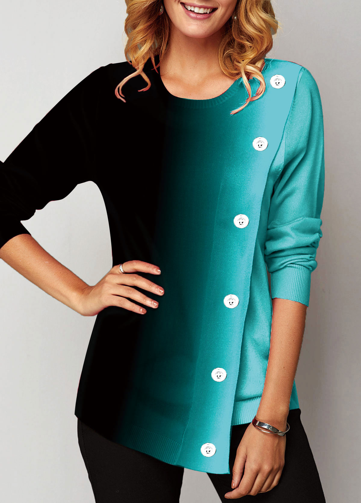 Long Sleeve Eyelet Embellished Round Neck Sweatshirt