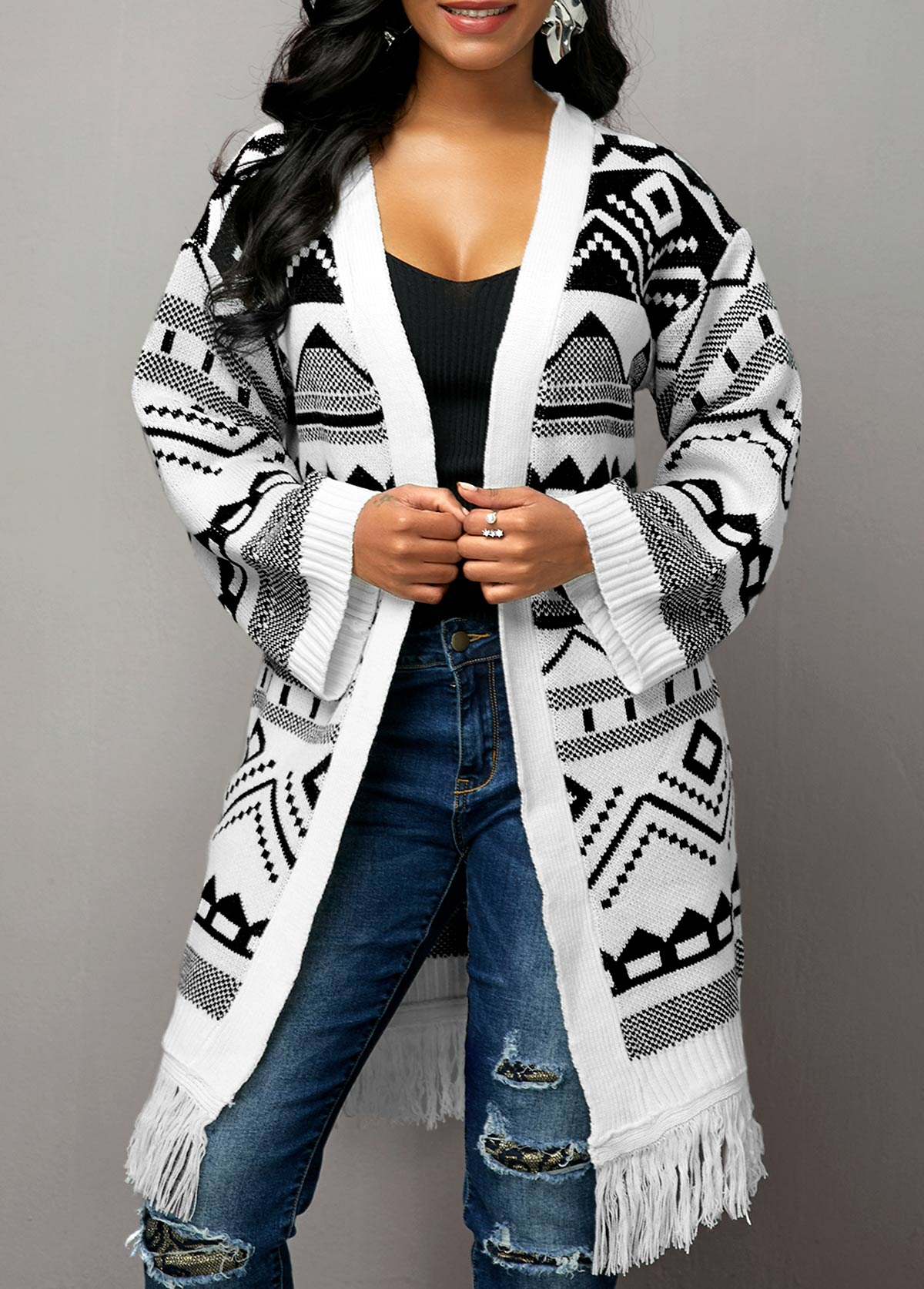 Tribal Pattern Tassel Hem Open Front Cardigan
