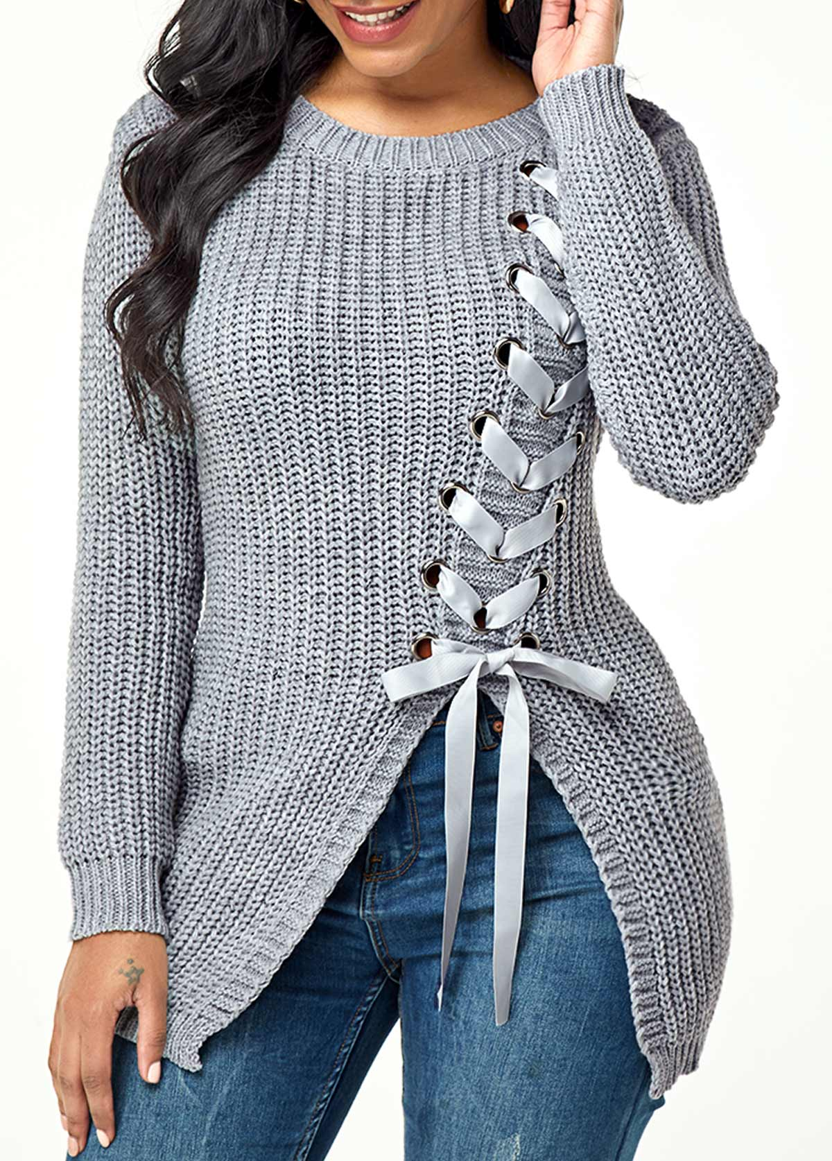 Lace Up Asymmetric Hem Pullover Sweater
