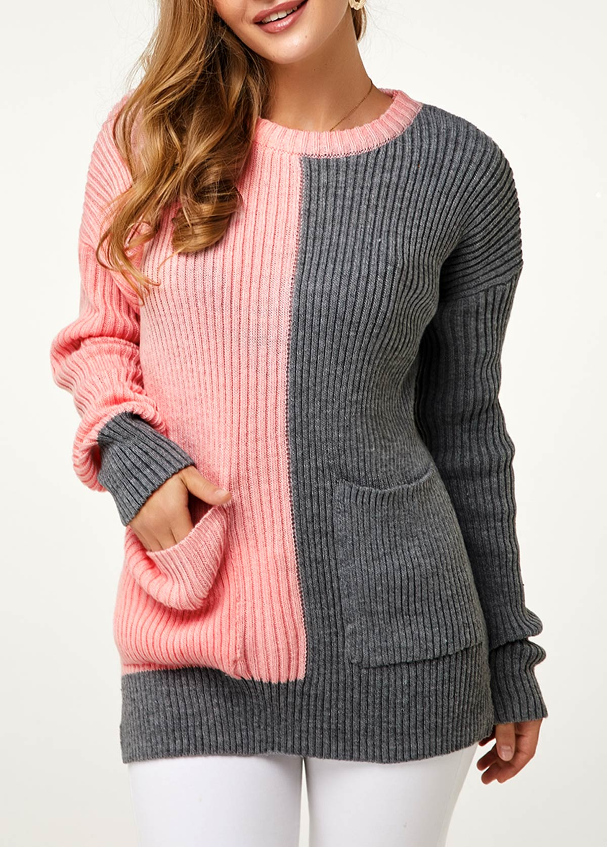 Color Block Side Slit Long Sleeve Sweater