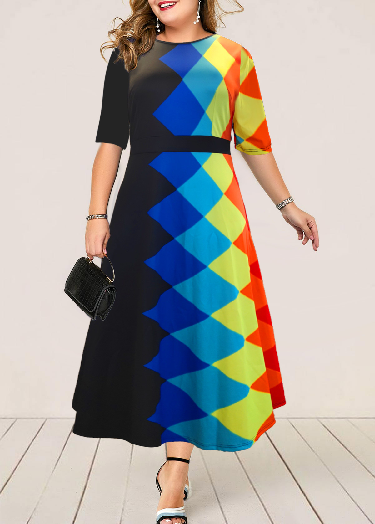 Plus Size Geometric Print High Waist Dress