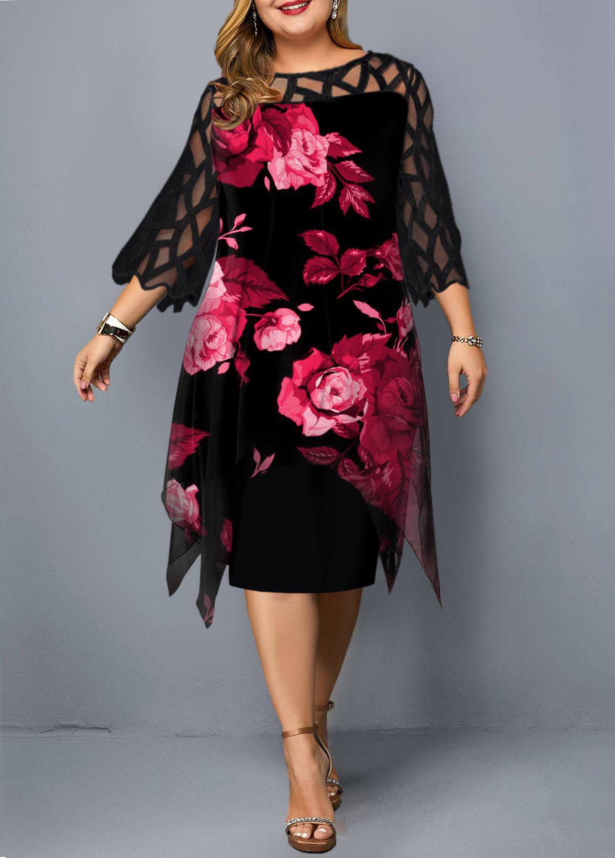 Plus Size Lace Panel Flower Print Dress
