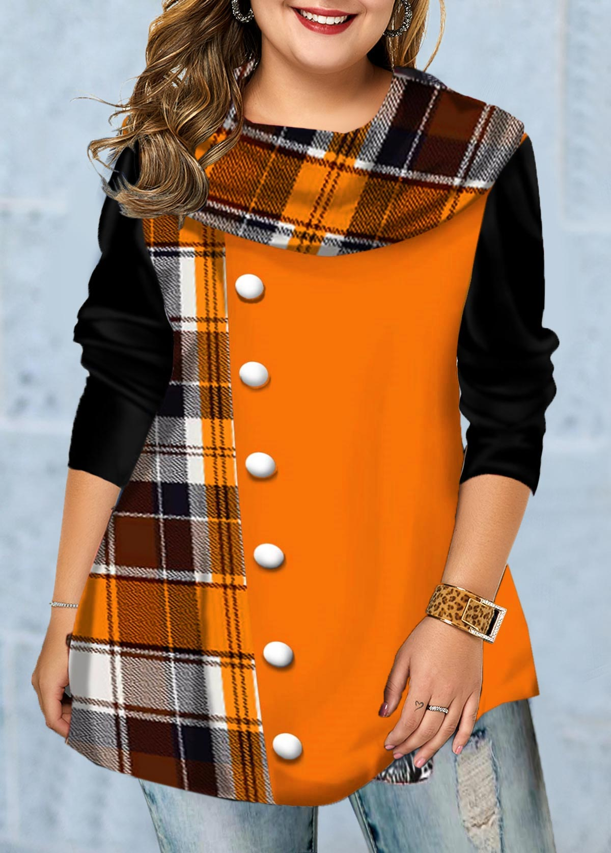 Inclined Button Plaid Print Long Sleeve T Shirt