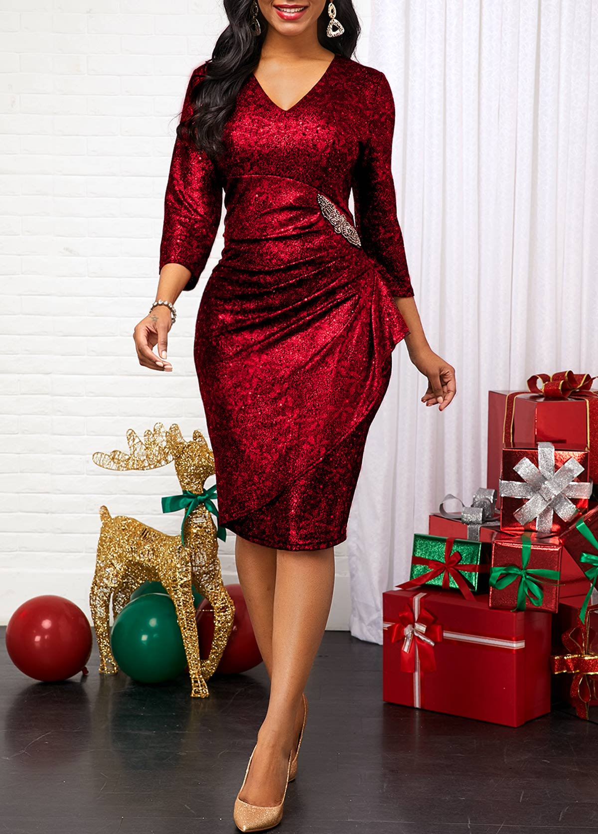 Three Quarter Sleeve V Neck Red Dress