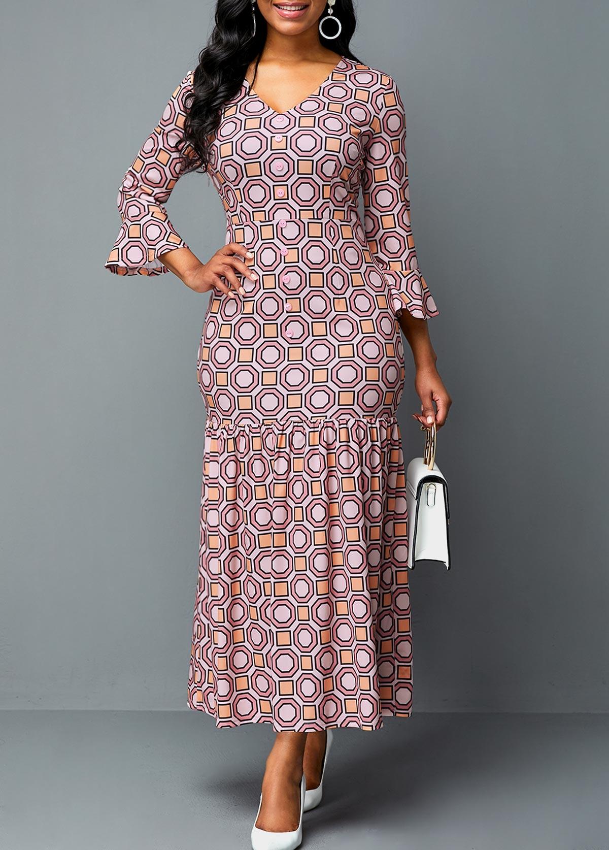 Geometric Print Flare Sleeve Plunging Neck Dress