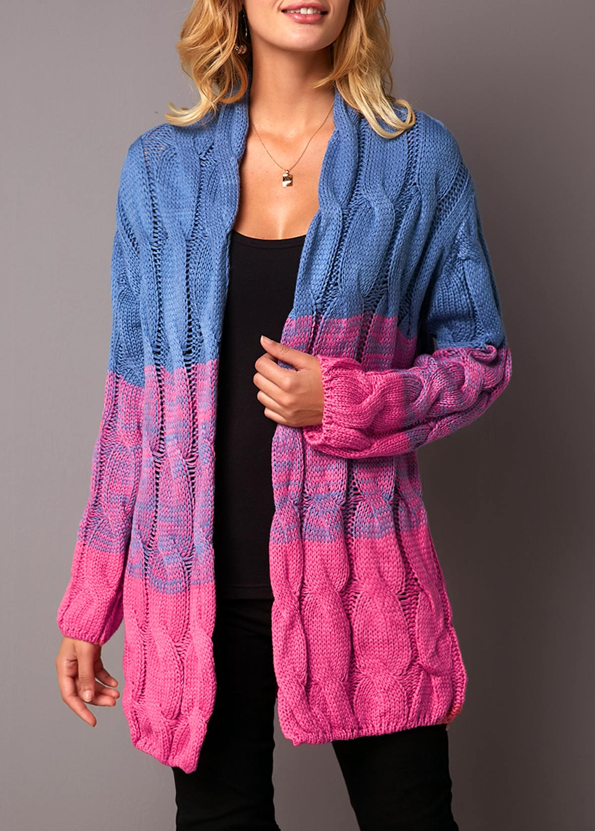 Open Front Long Sleeve Color Block Cardigan