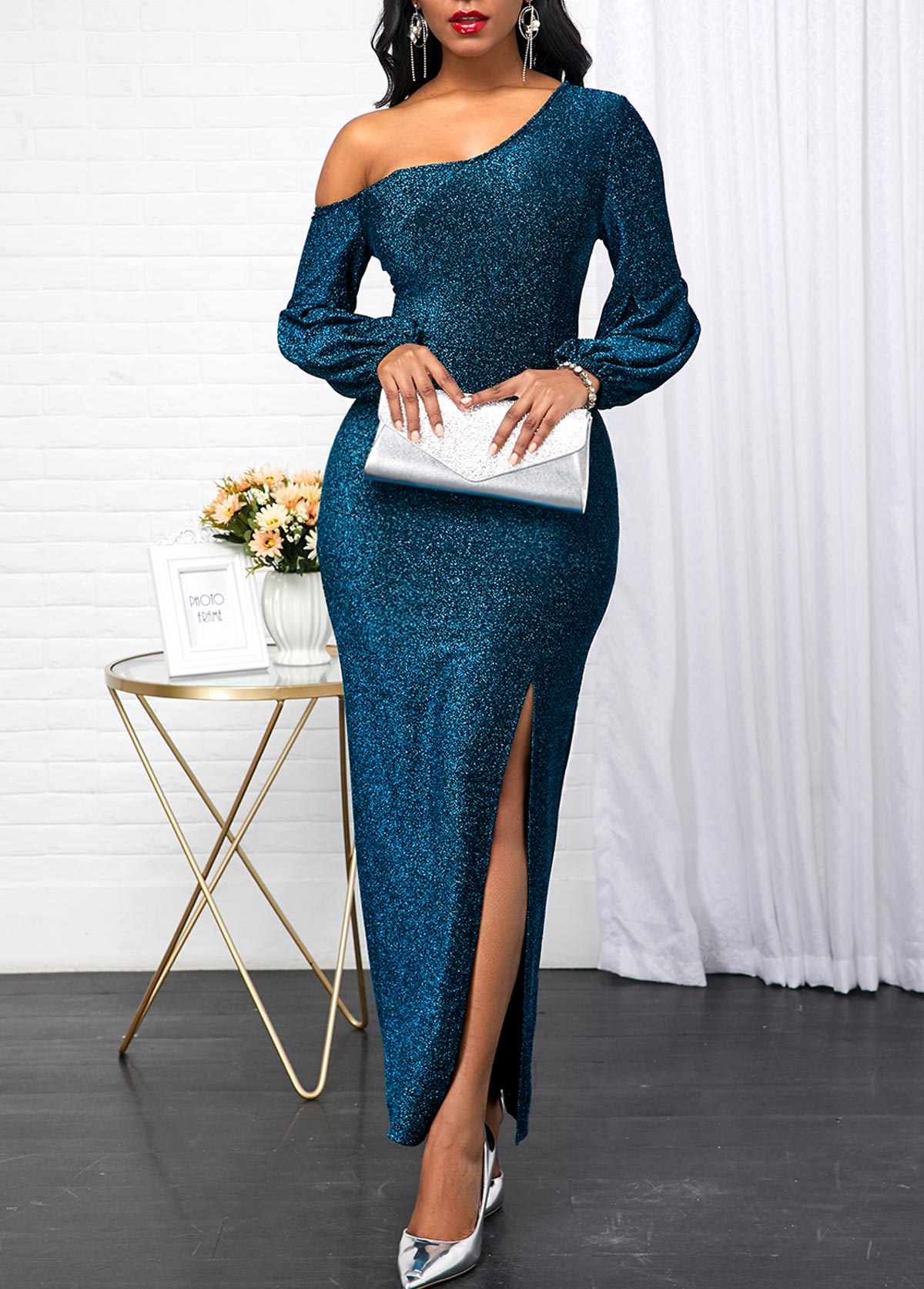 Skew Neck Peacock Blue Long Sleeve Dress
