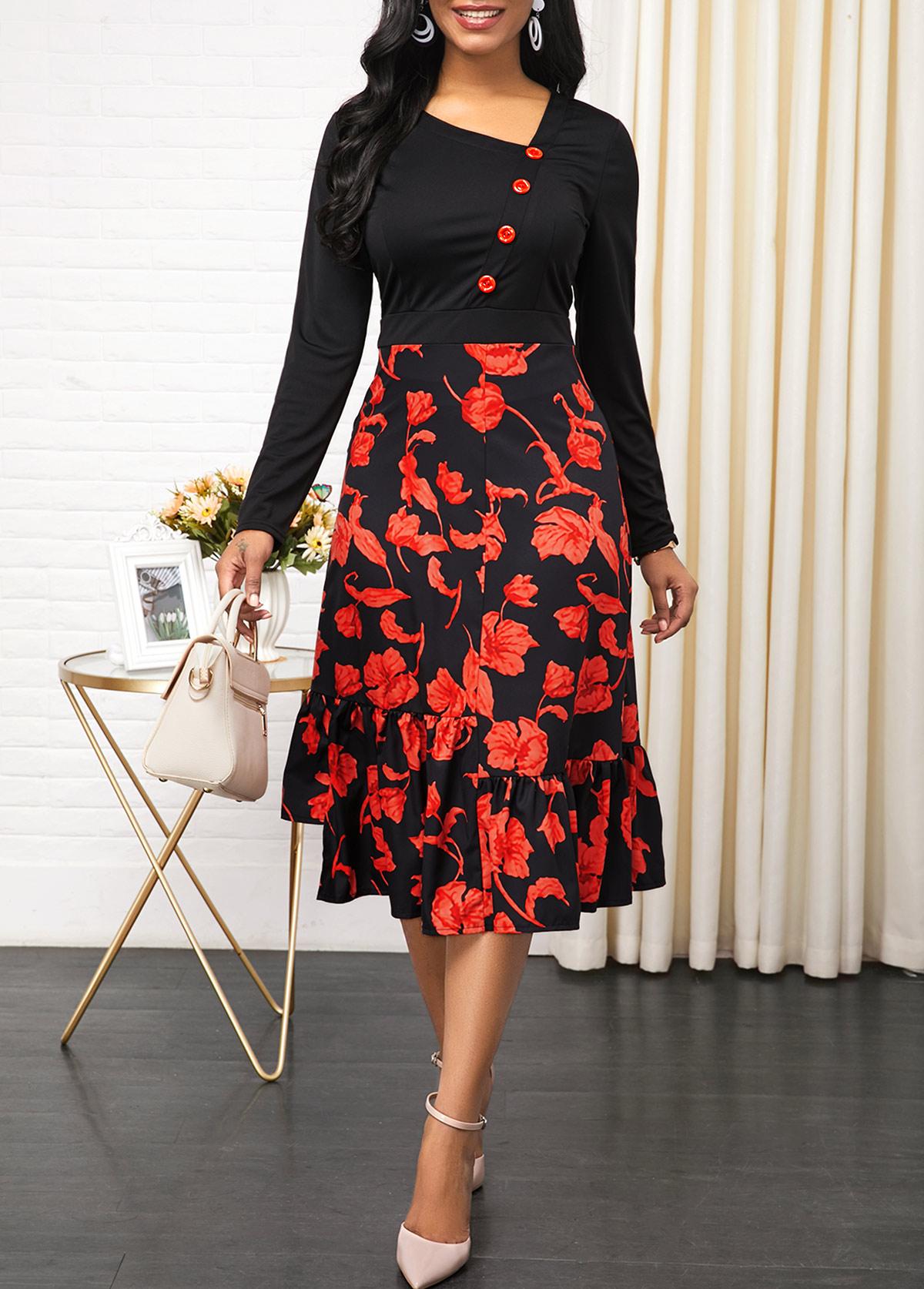Floral Print Side Zipper Button Detail Dress