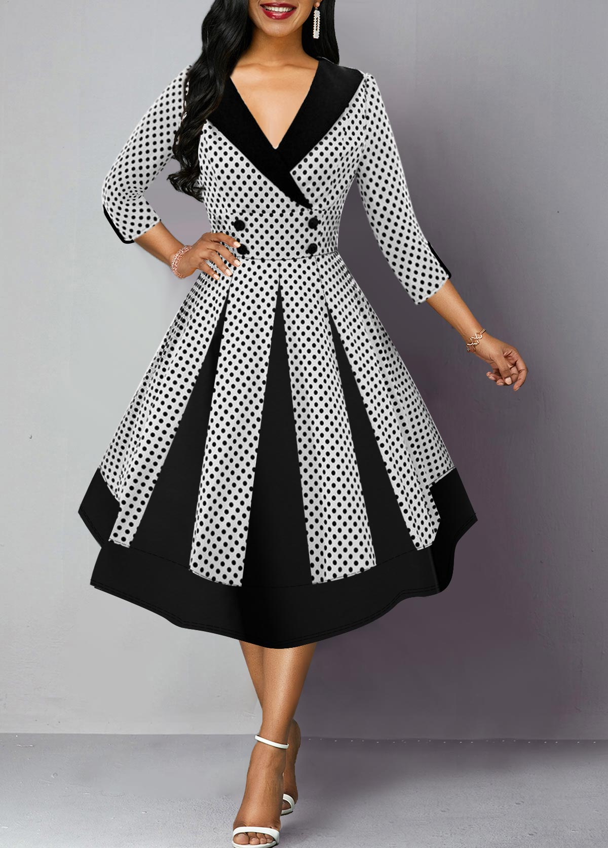 Polka Dot Print Button Detail Three Quarter Sleeve Dress