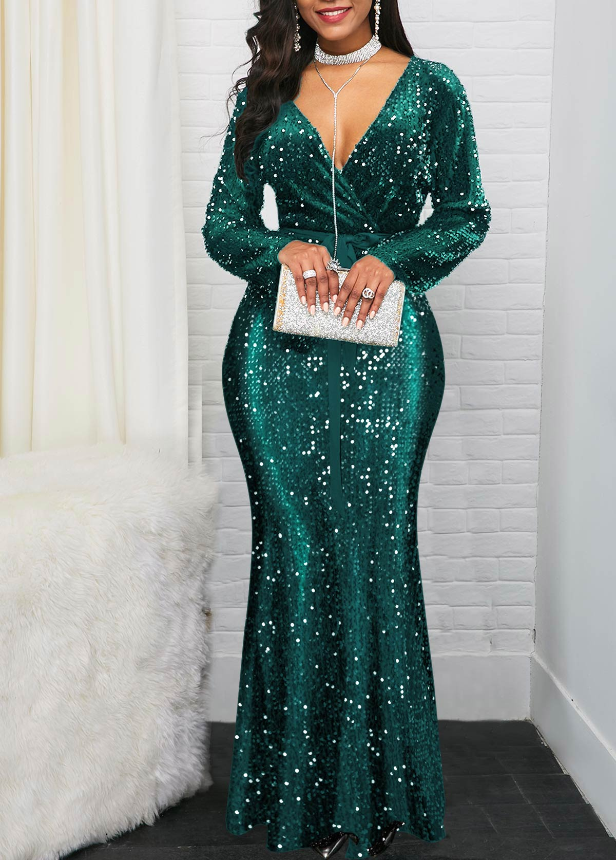 Plunging Neck Ruffle Hem Sequin Embellished Dress