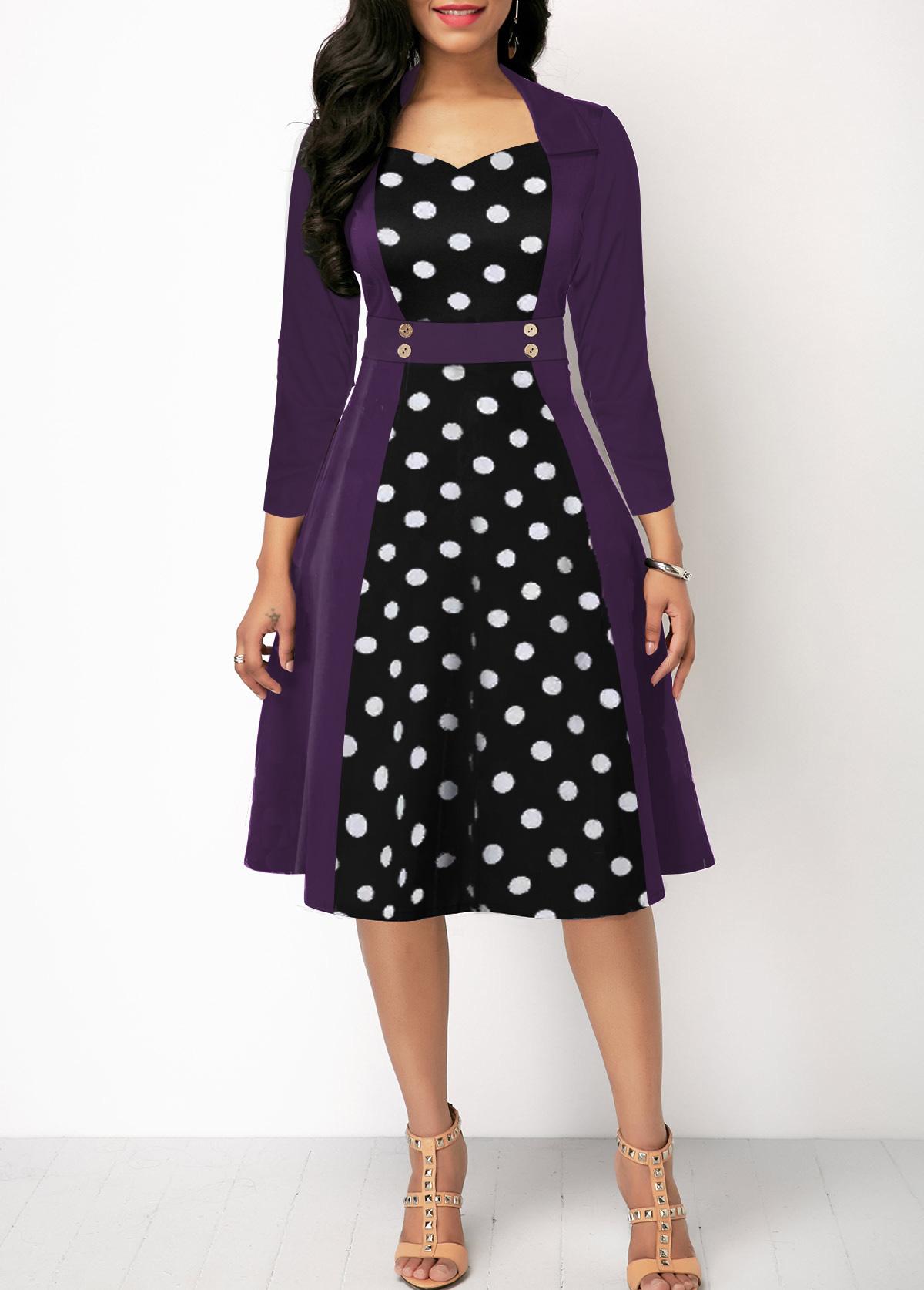 Polka Dot Print Three Quarter Sleeve Button Detail Dress