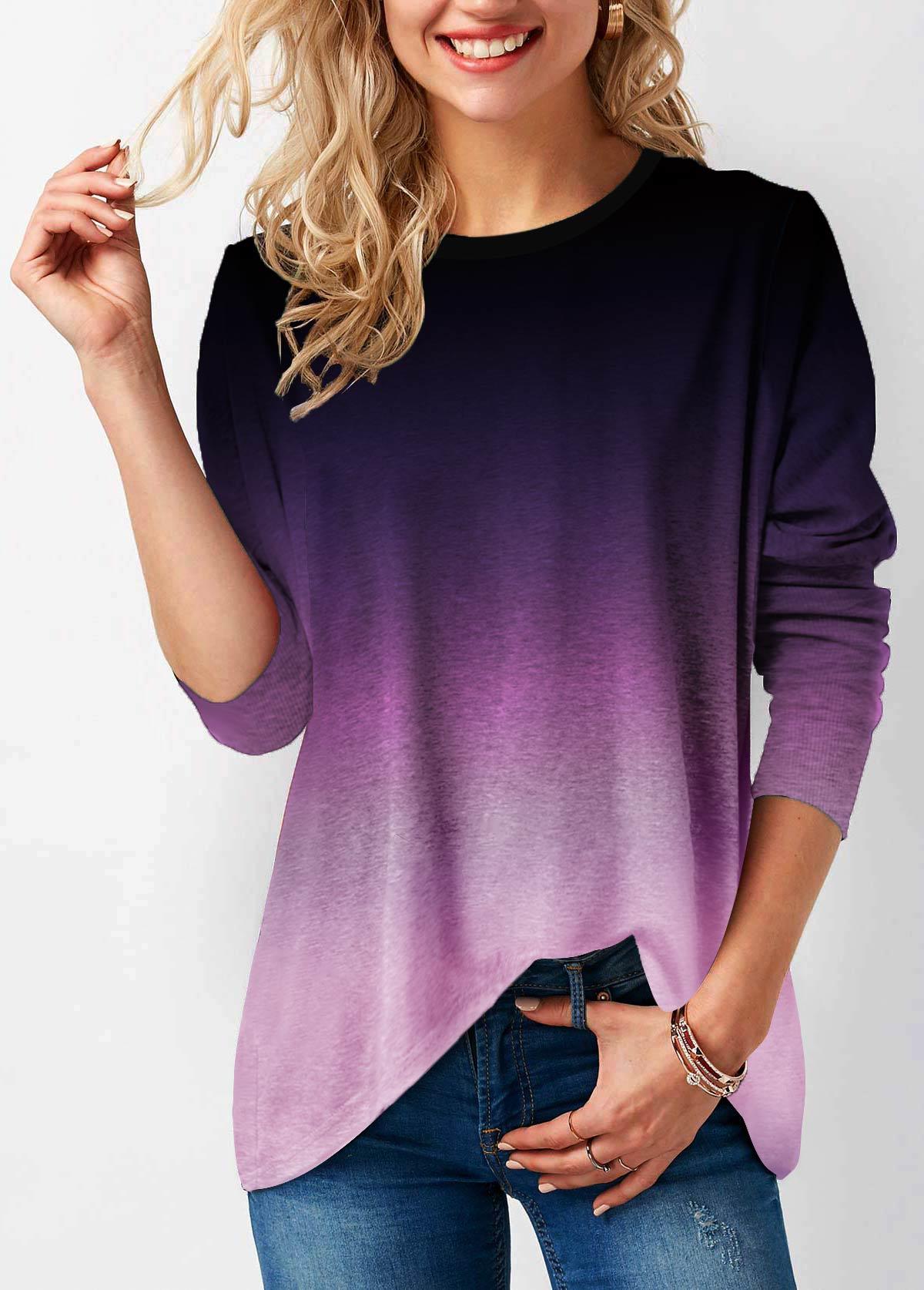 Ombre Long Sleeve Round Neck Sweatshirt