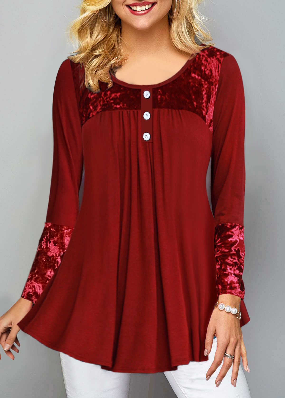 Button Front Round Neck Long Sleeve T Shirt