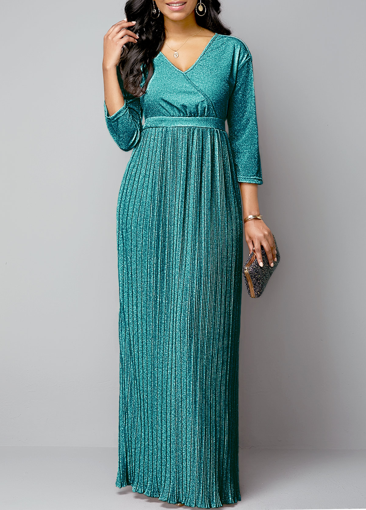 Pleated Hem Plunging Neck Hot Stamping Maxi Dress