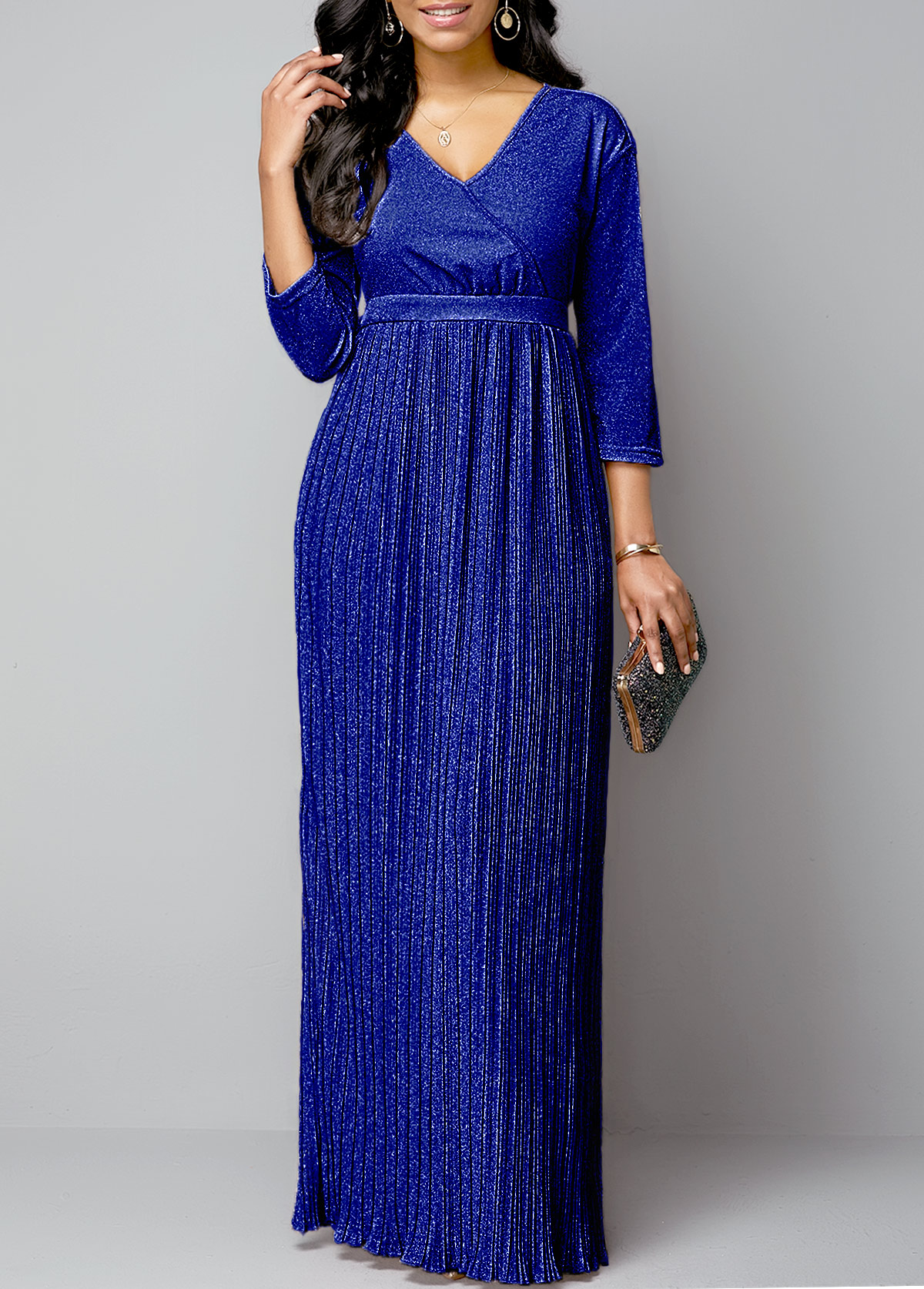 Three Quarter Sleeve Belted Royal Blue Pleated Dress