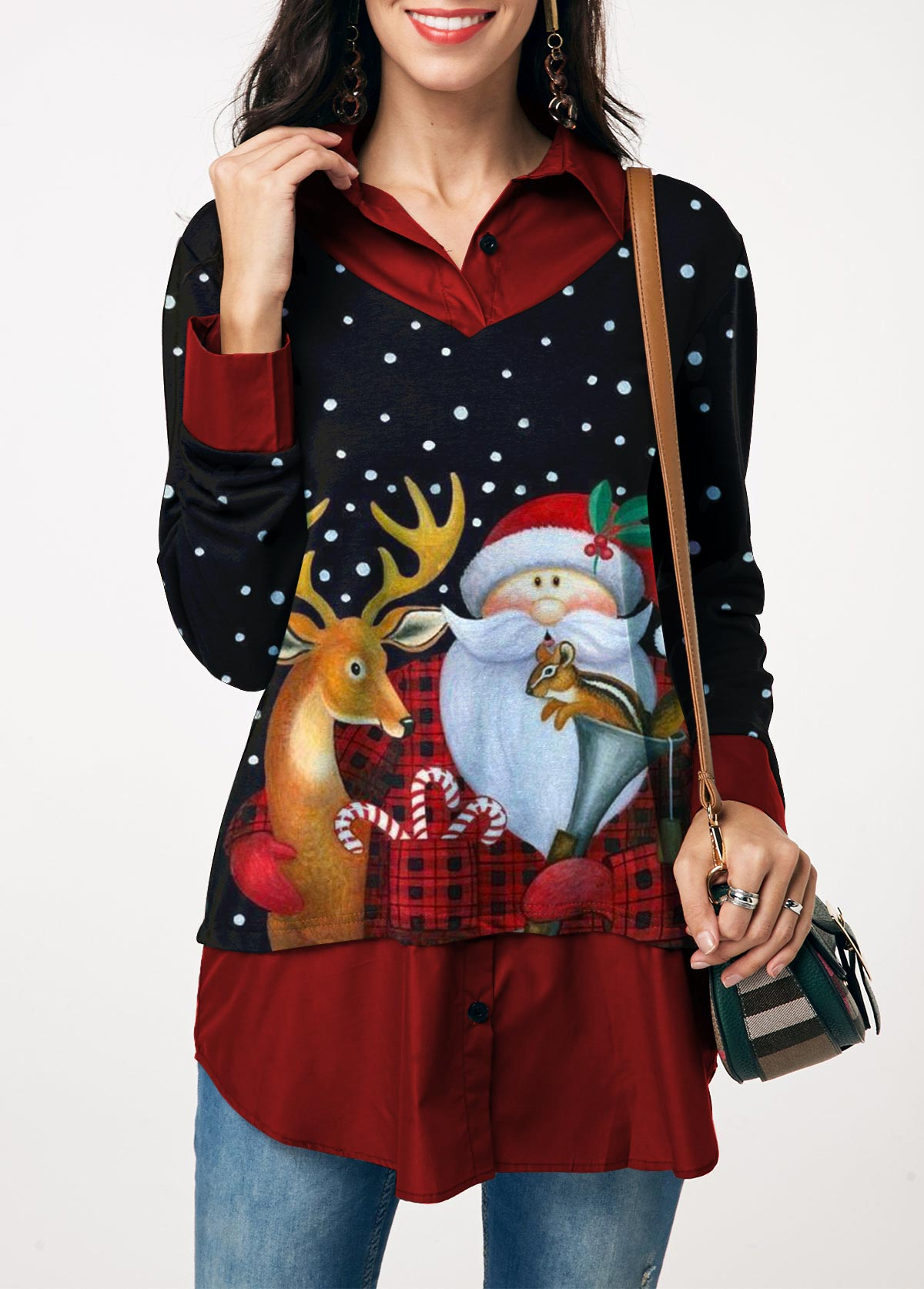 Christmas Elk and Santa Claus Print Blouse