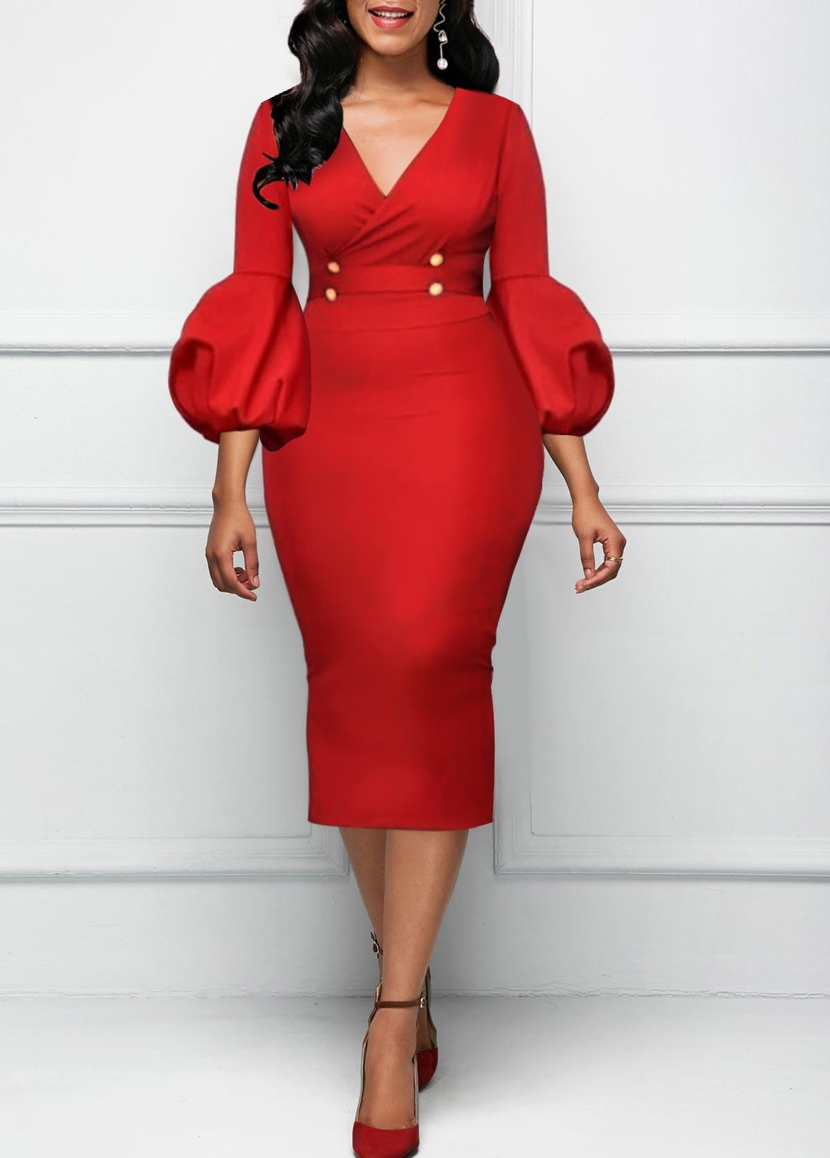 V Neck High Waist Red Dress