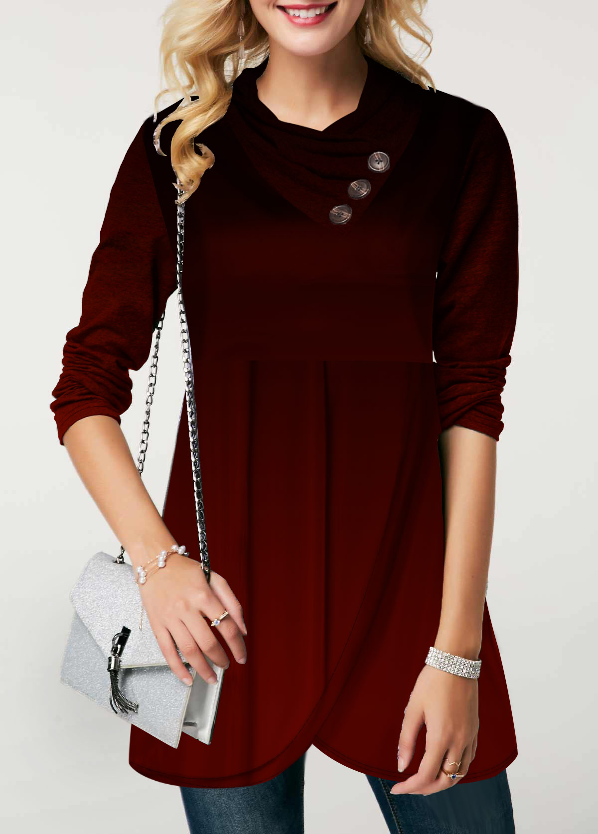 Button Detail Long Sleeve Asymmetric Hem Sweatshirt