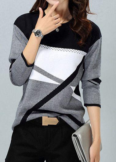 Round Neck Long Sleeve Stripe Pattern Sweater