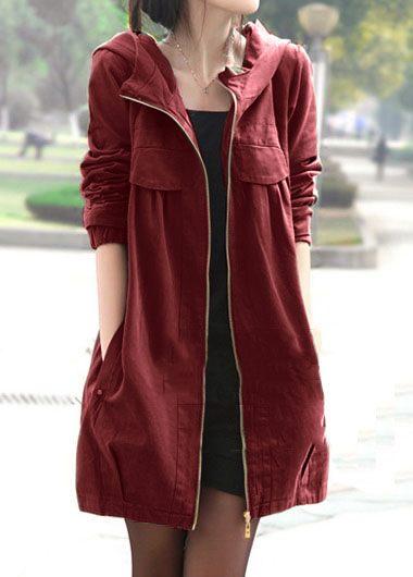 Hooded Collar Zipper Closure Side Pocket Coat
