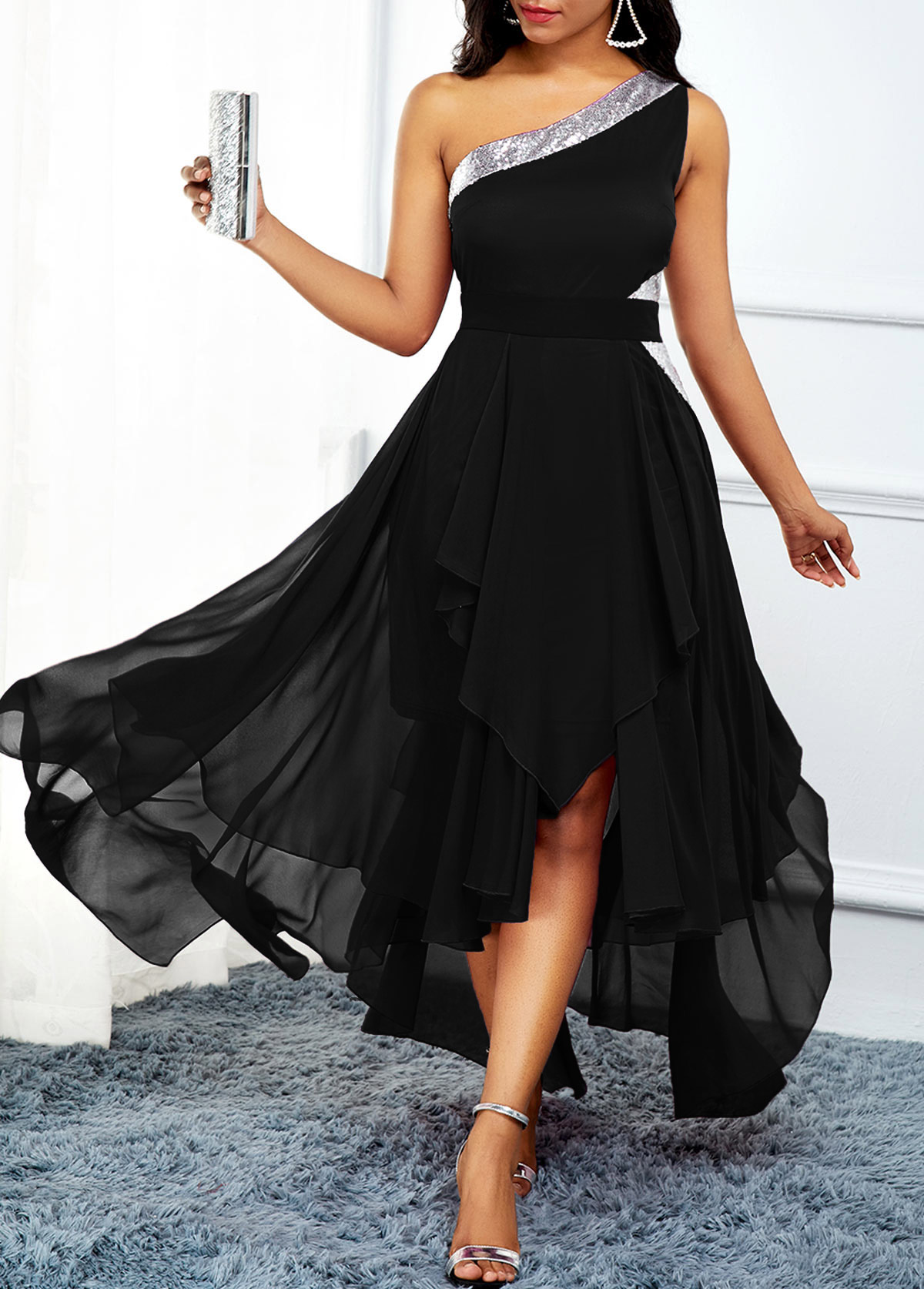 High Waist Asymmetric Hem One Shoulder Dress